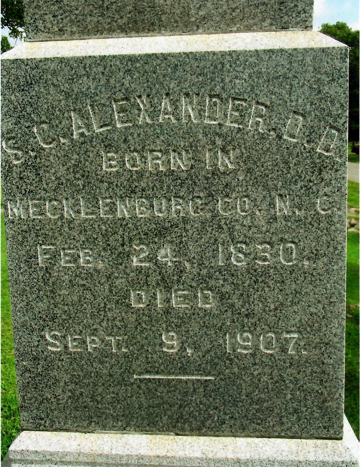 Samuel Caldwell Alexander, Sr. is buried at Bellwood Cemetery, Pine Bluff, Arkansas.