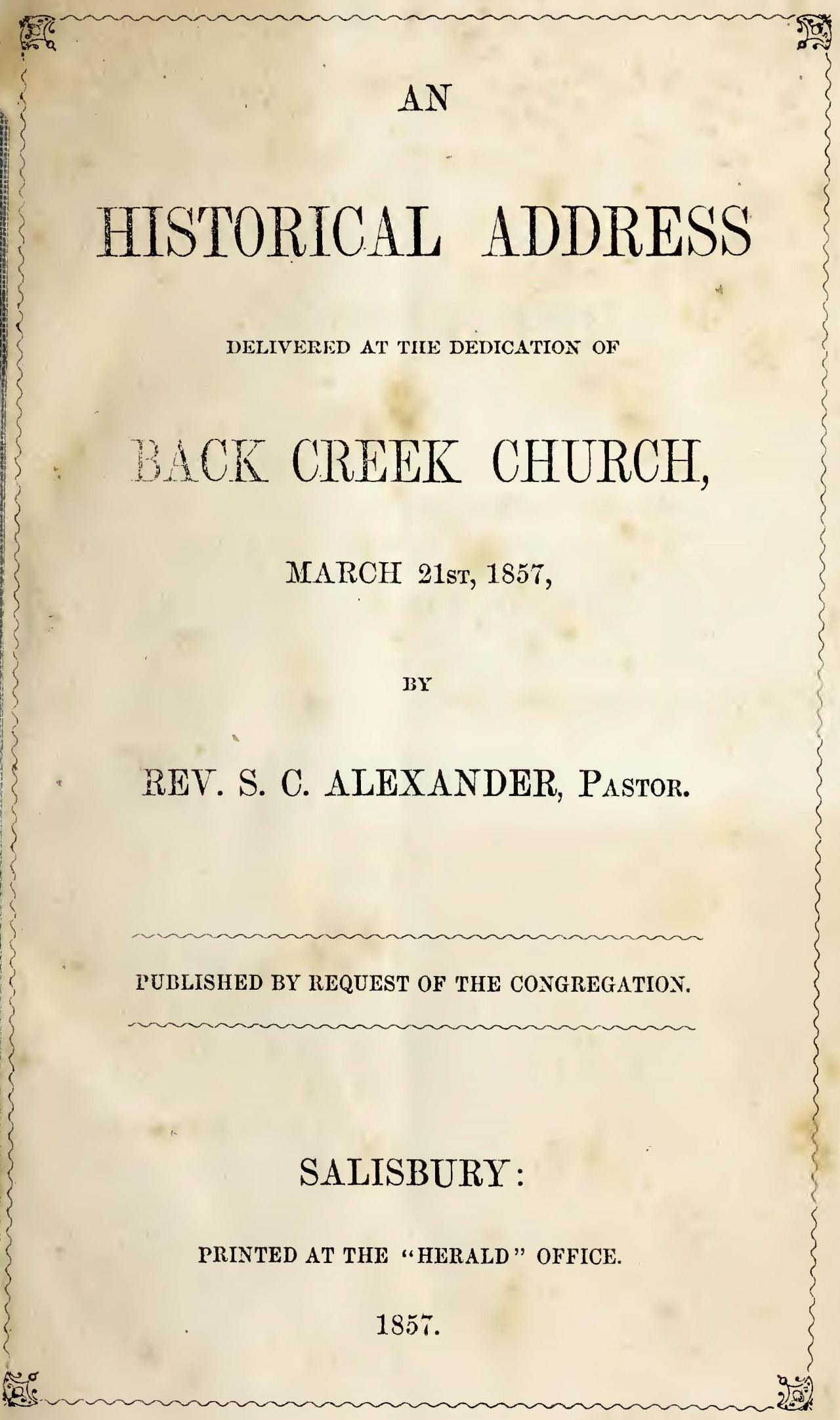 Alexander, Sr., Samuel Caldwell, An Historical Address Title Page.jpg