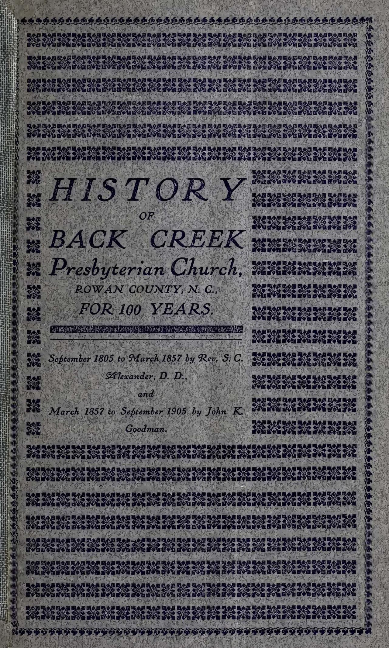 Alexander, Sr., Samuel Caldwell, History of Back Creek Presbyterian Church Title Page.jpg