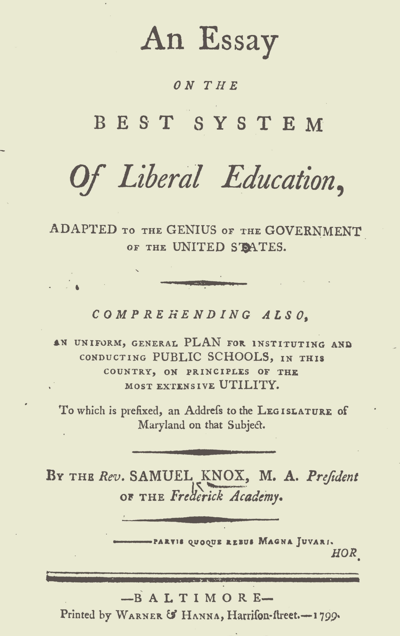 Knox, Samuel, An Essay on the Best System of Education Title Page.jpg