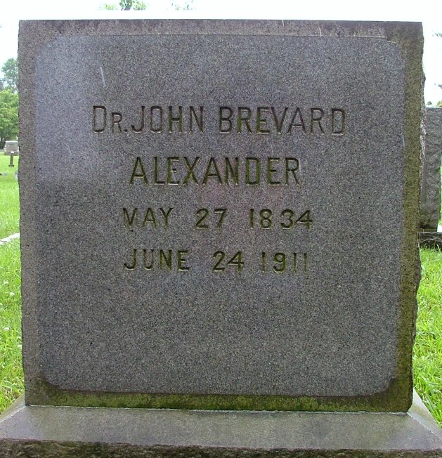 John Brevard Alexander, Sr. is buried at Elmwood Cemetery, Charlotte, North Carolina.