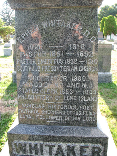 Epher Whitaker is buried at the Old Burying Ground of First Presbyterian Church, Southold, New York.
