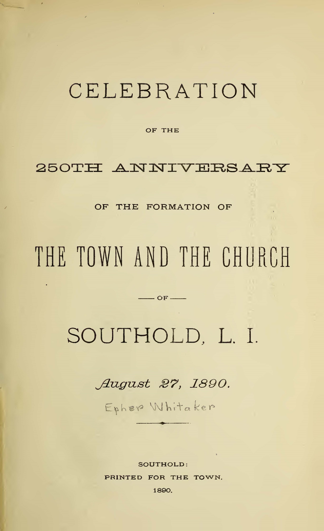 Whitaker, Epher, Celebration of the 250th Anniversary Title Page.jpg