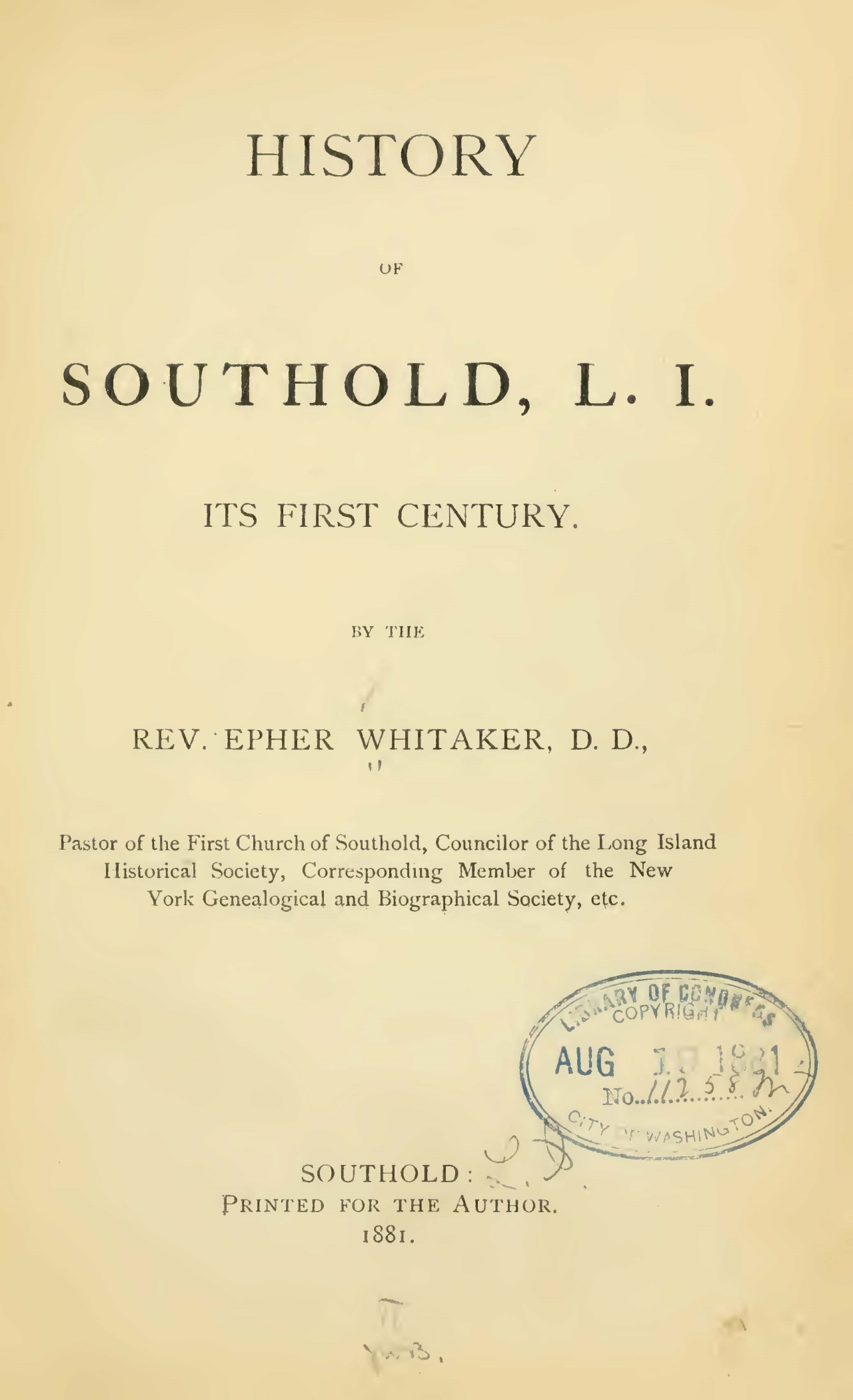 Whitaker, Epher, History of Southold, L.I. Title Page.jpg