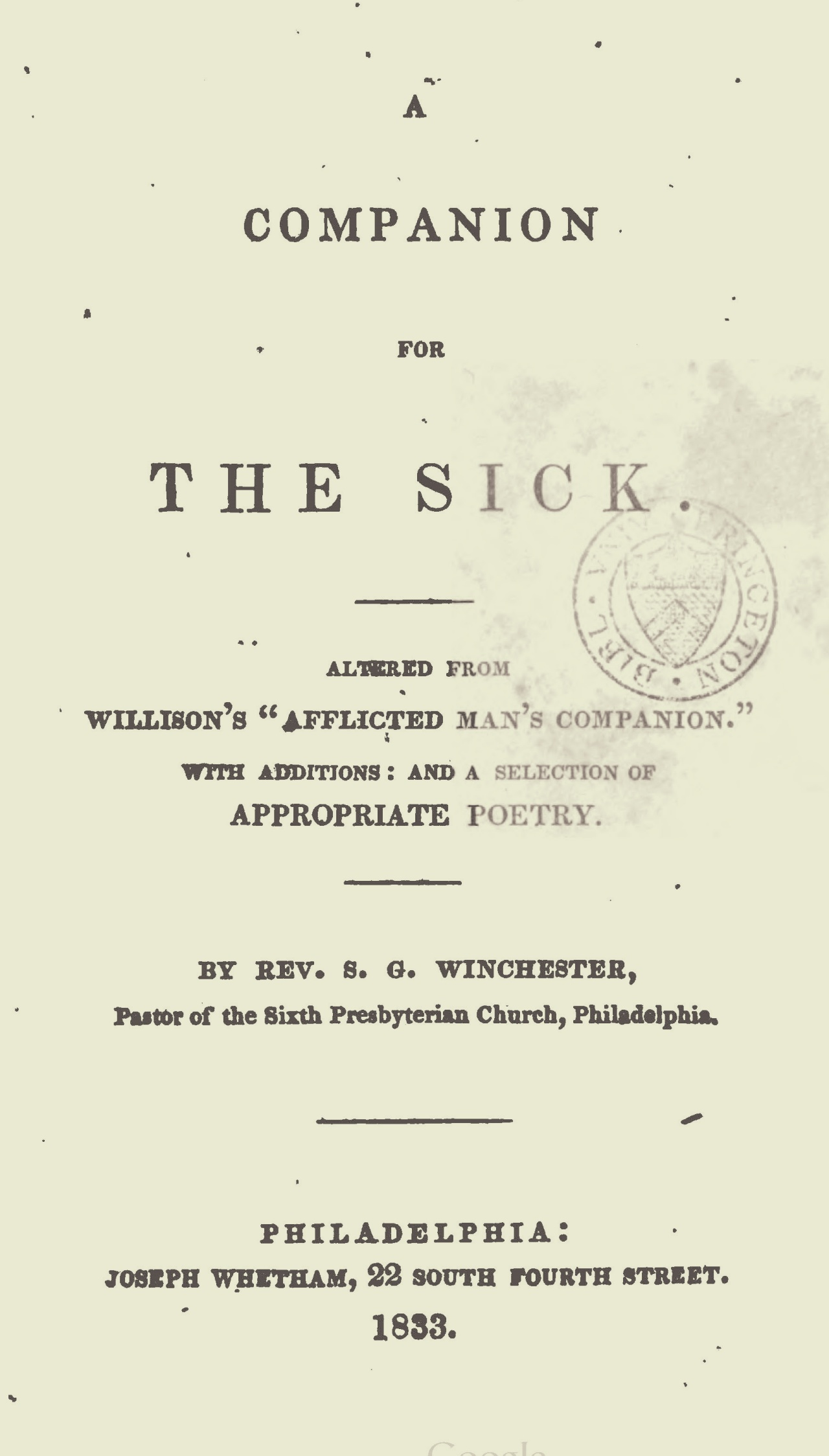 Winchester, Samuel Gover, Companion for the Sick Title Page.jpg