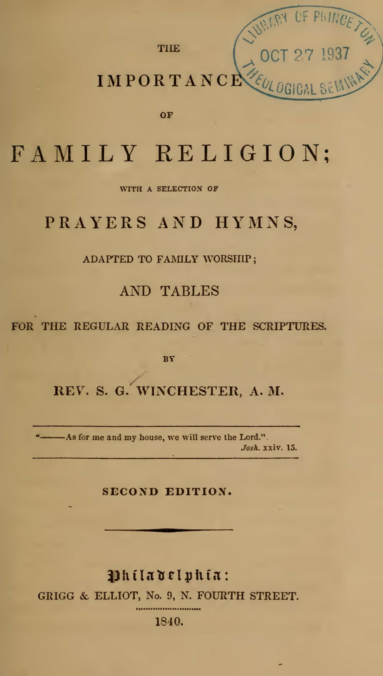 Winchester, Samuel Gover, The Importance of Family Religion Title Page.jpg