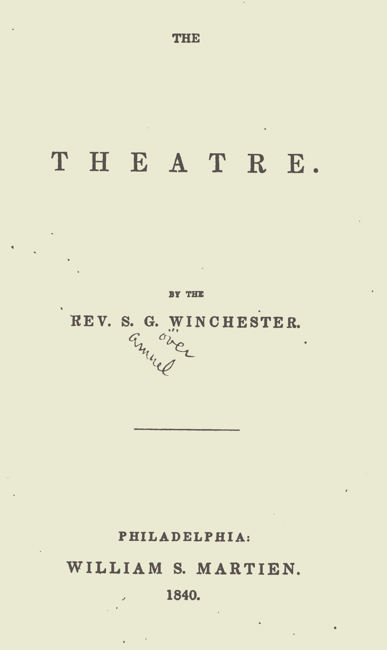Winchester, Samuel Gover, The Theatre Title Page.jpg