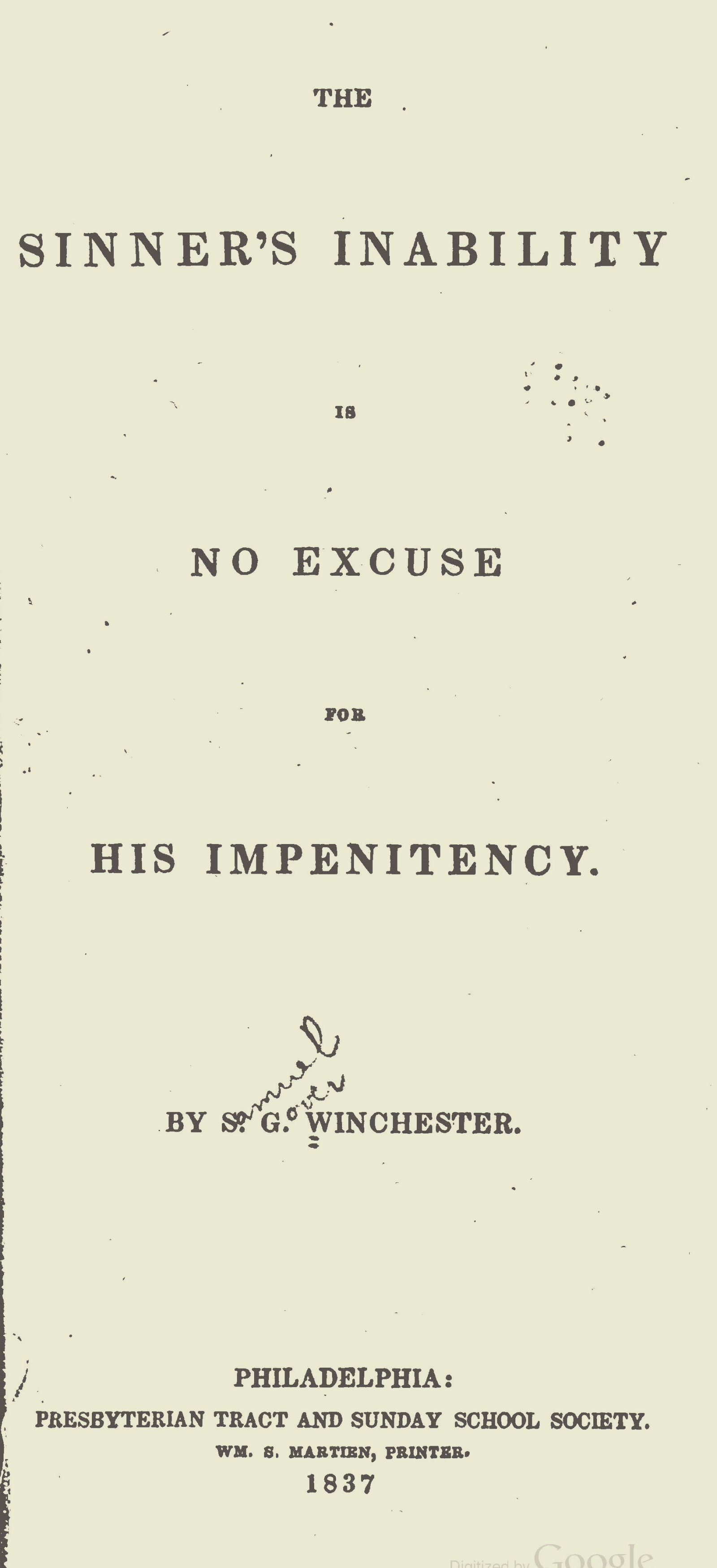 Winchester, Samuel Gover, The Sinner's Inability is No Excuse Title Page.jpg