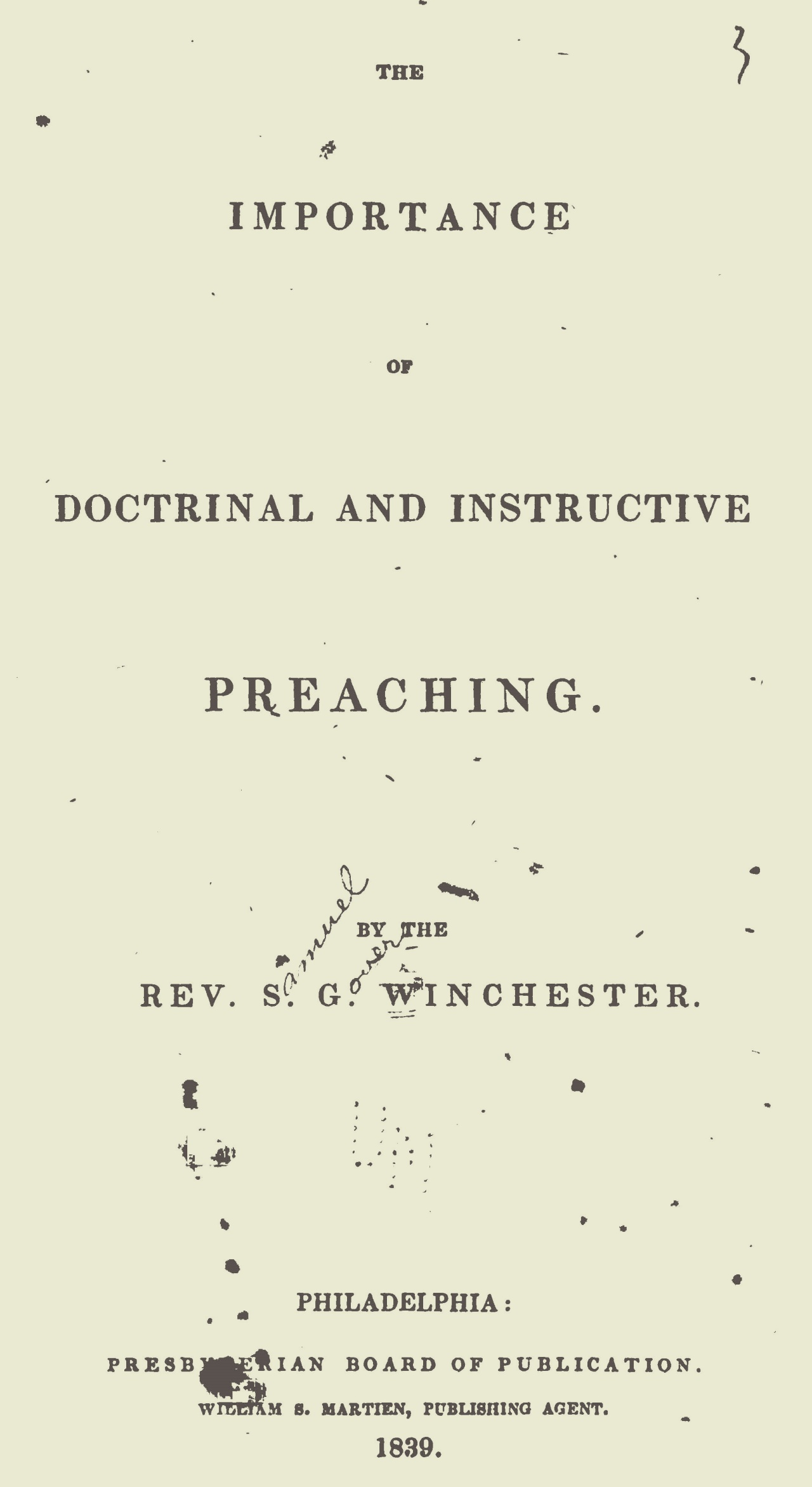 Winchester, Samuel Gover, The Importance of Doctrinal and Instructive Preaching Title Page.jpg
