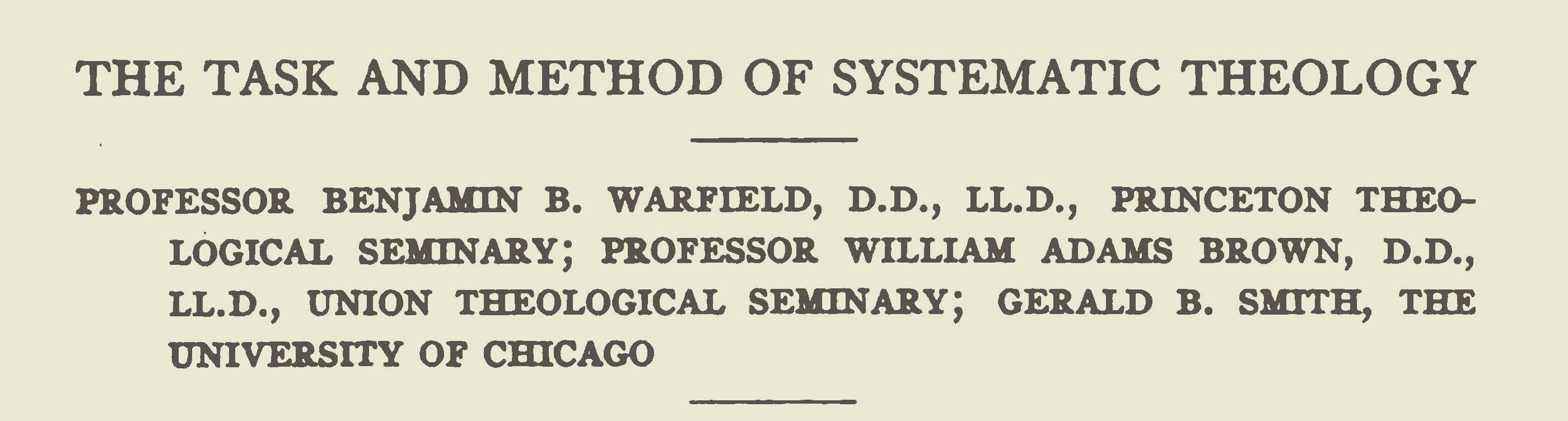 Warfield, Benjamin Breckinridge, The Task and Method of Systematic Theology Title Page.jpg
