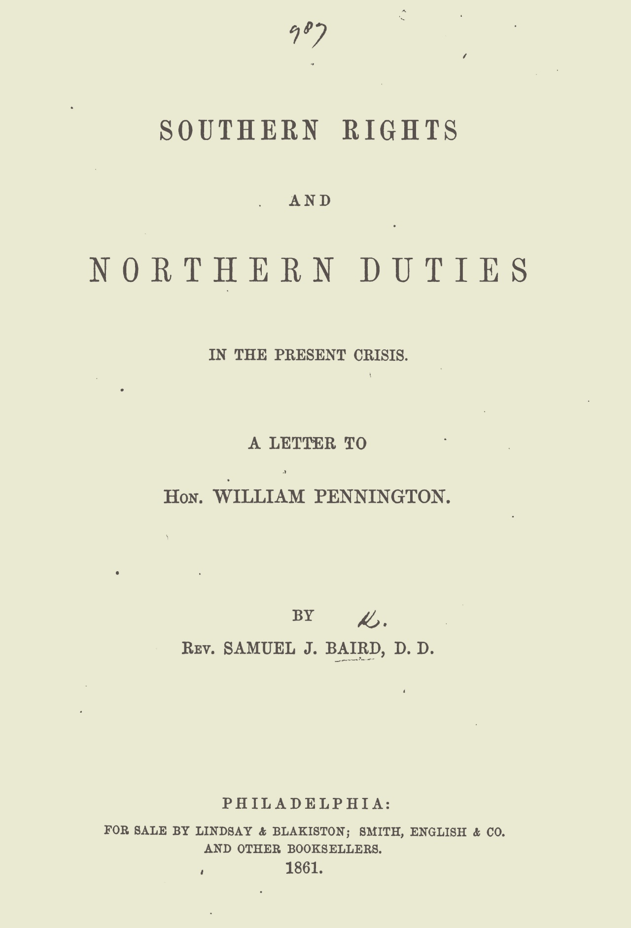 Baird, Samuel John, Southern Rights and Northern Duties Title Page.jpg