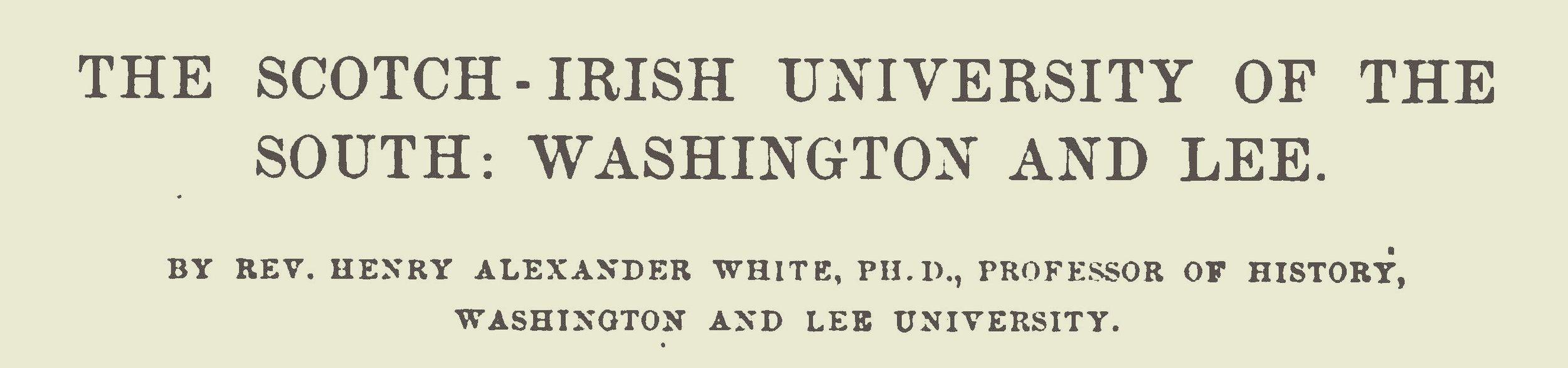 White, Henry Alexander, The Scotch-Irish University of the South Title Page.jpg