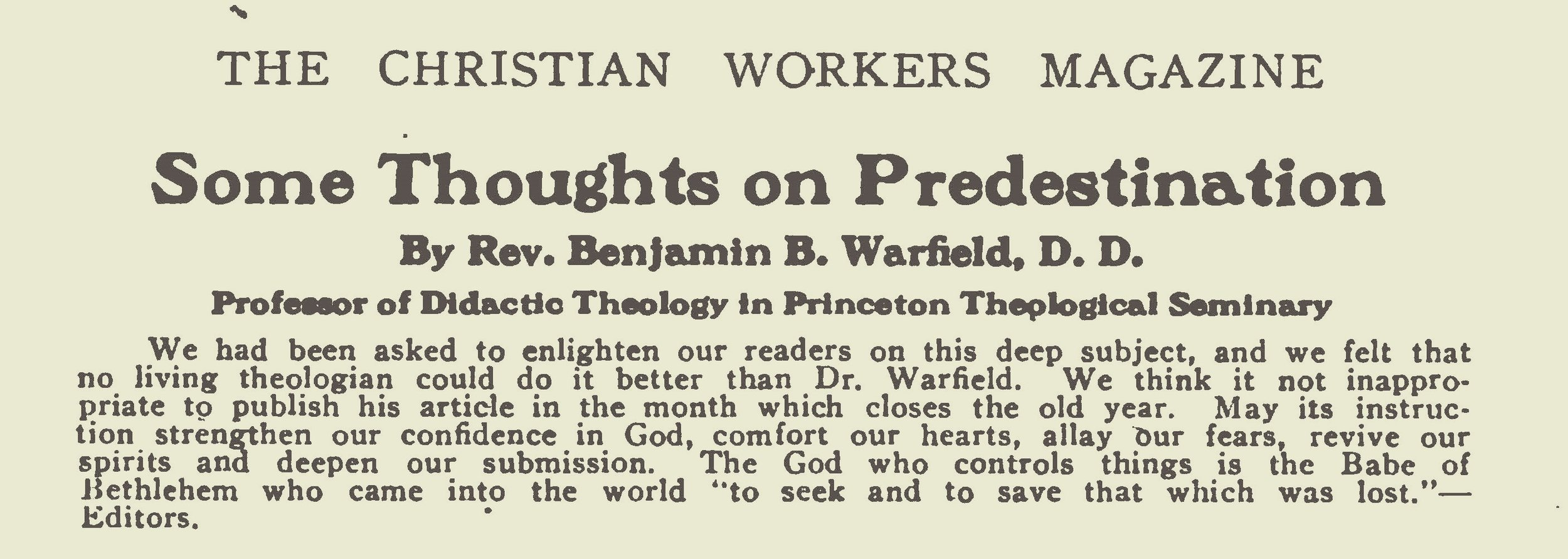 Warfield, Benjamin Breckinridge, Some Thoughts on Predestination Title Page.jpg