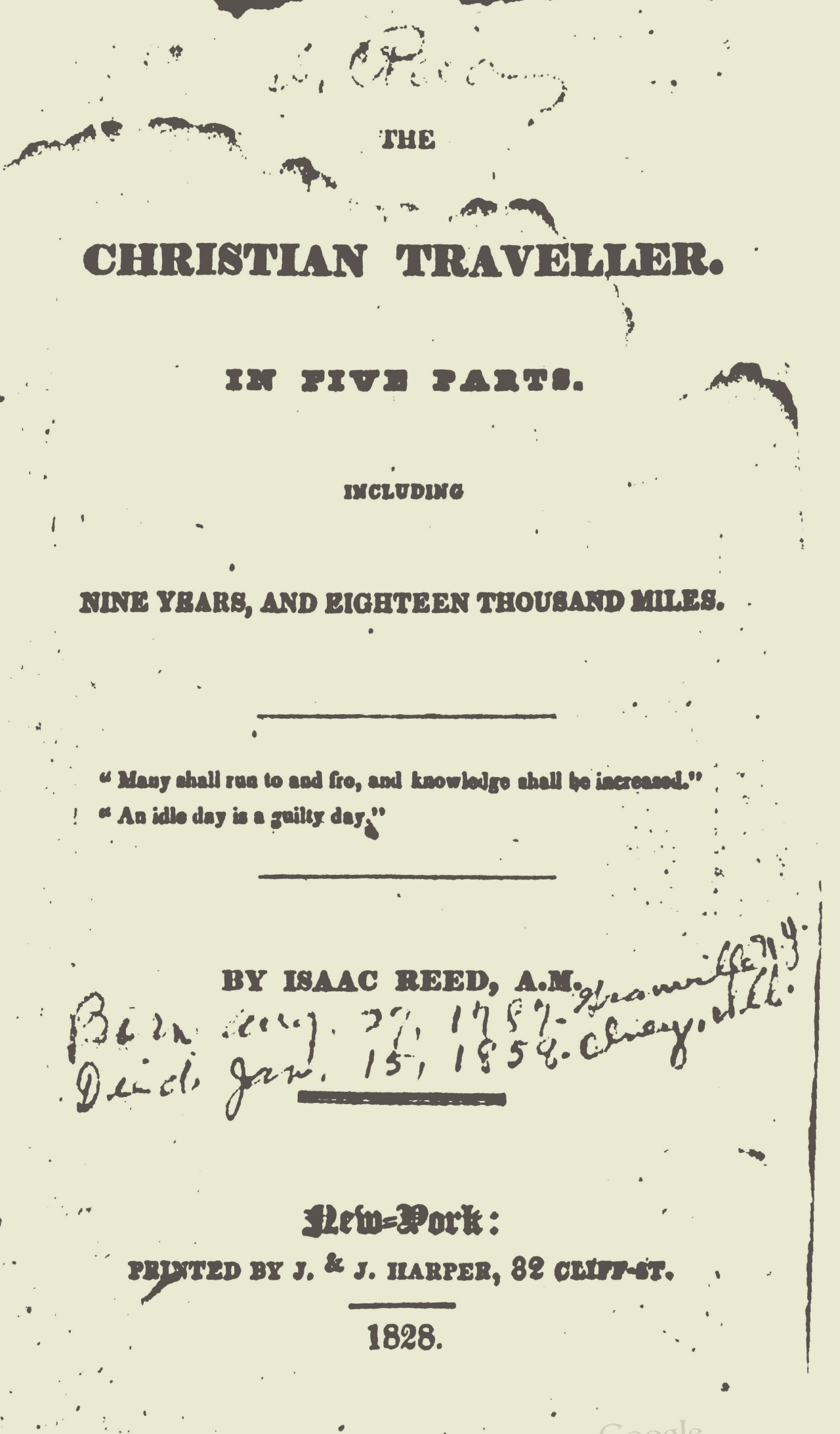 Reed, Isaac, The Christian Traveller Title Page.jpg