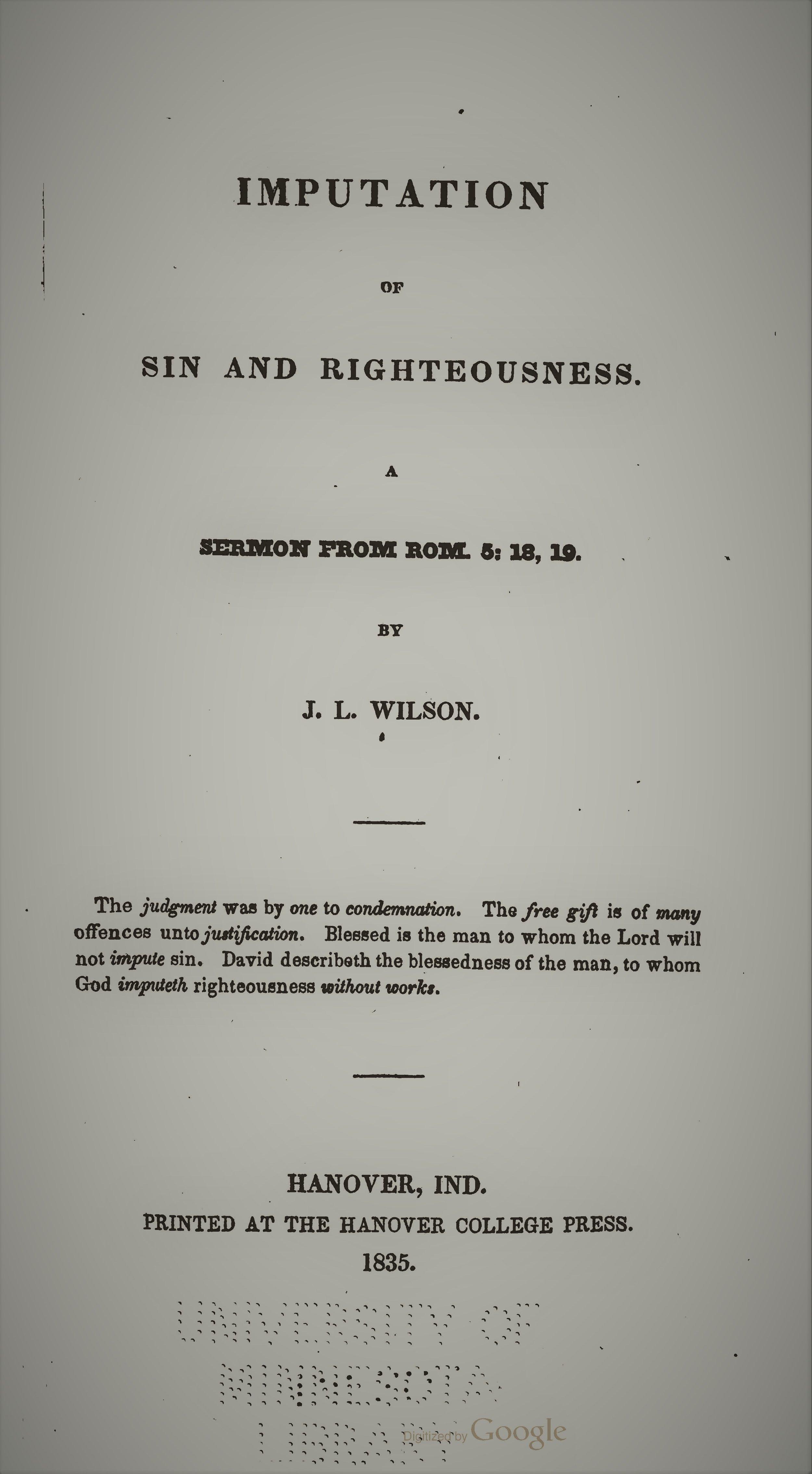 Wilson, Joshua Lacy - Imputation of Sin and Righteousness.jpg