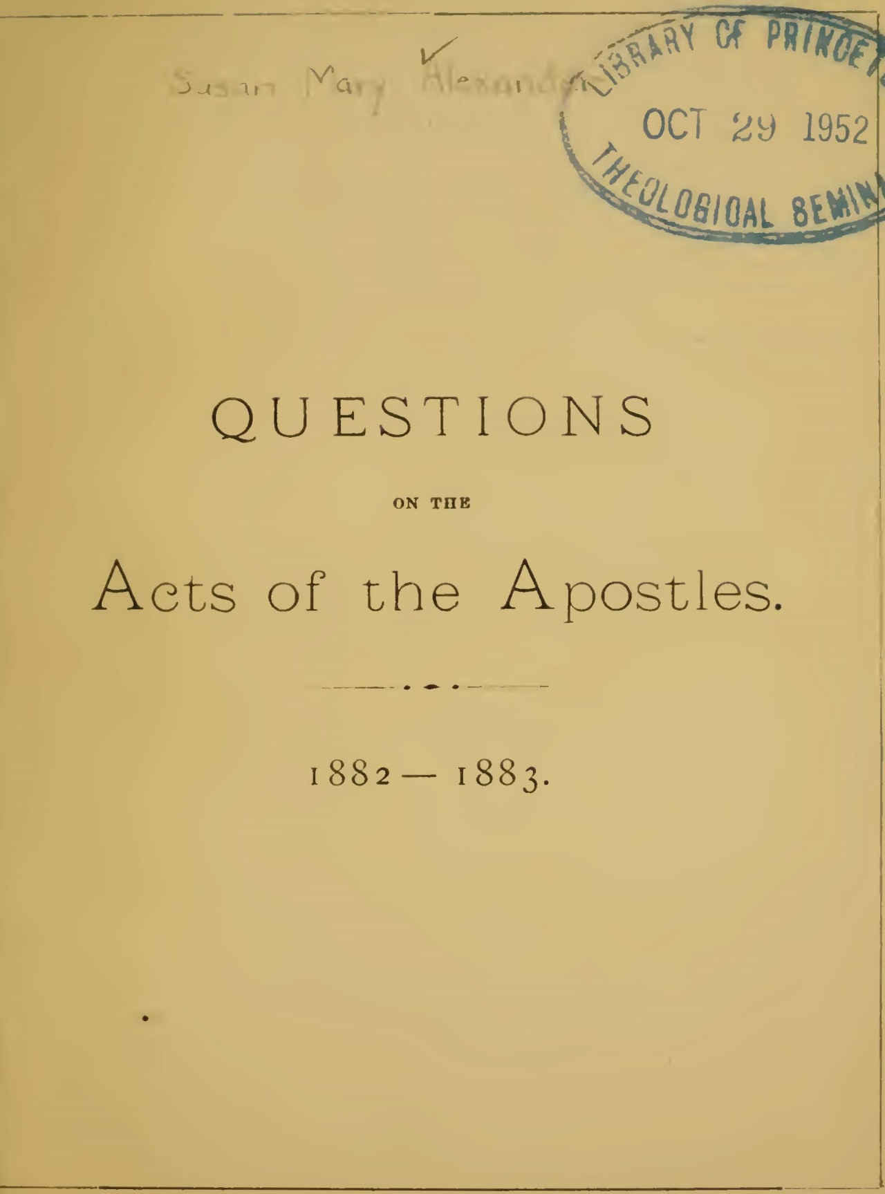 Alexander, Susan Mary Brown, Questions on the Acts of the Apostles Title Page.jpg