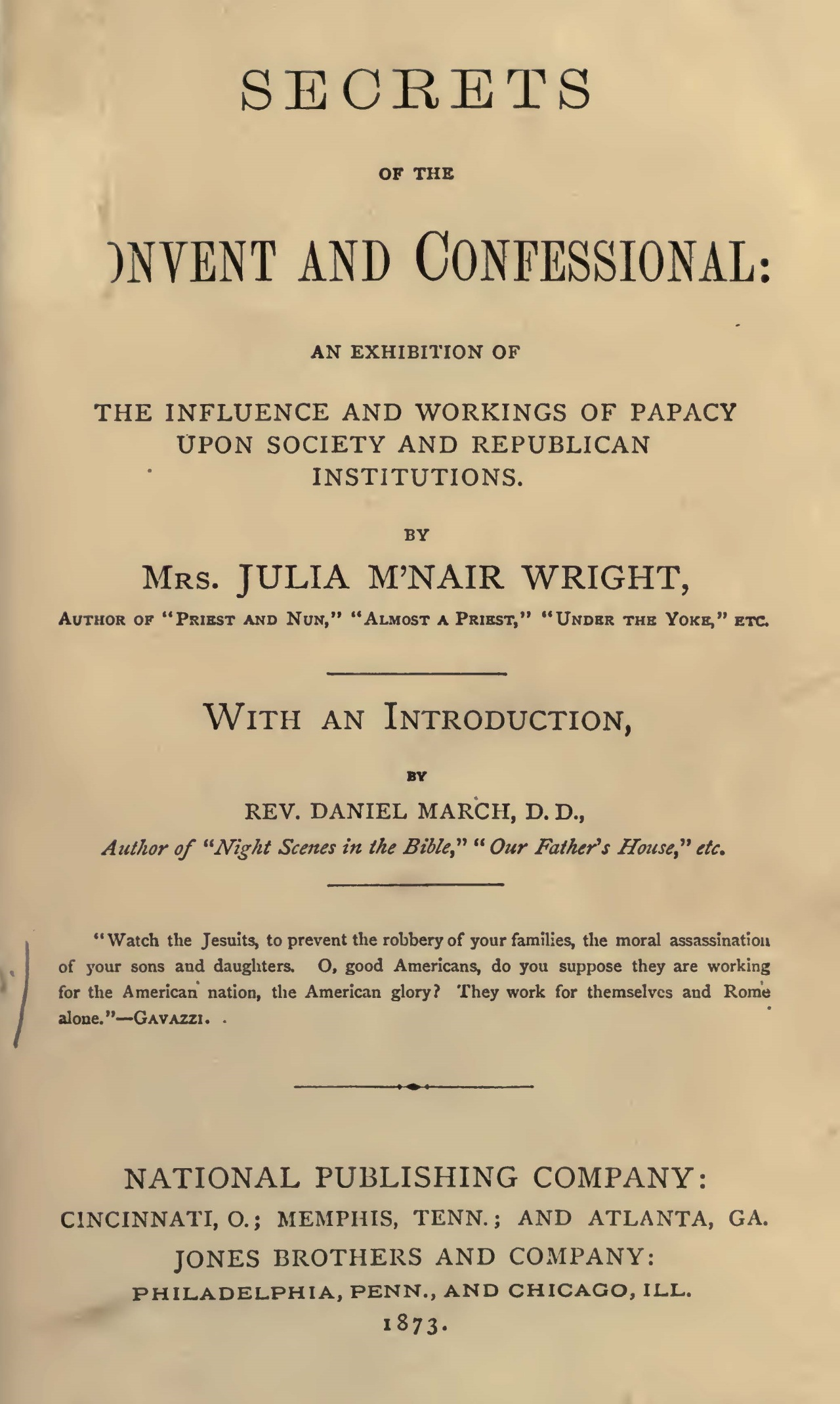 Wright, Julia McNair, Secrets of the Convent and Confessional Title Page.jpg