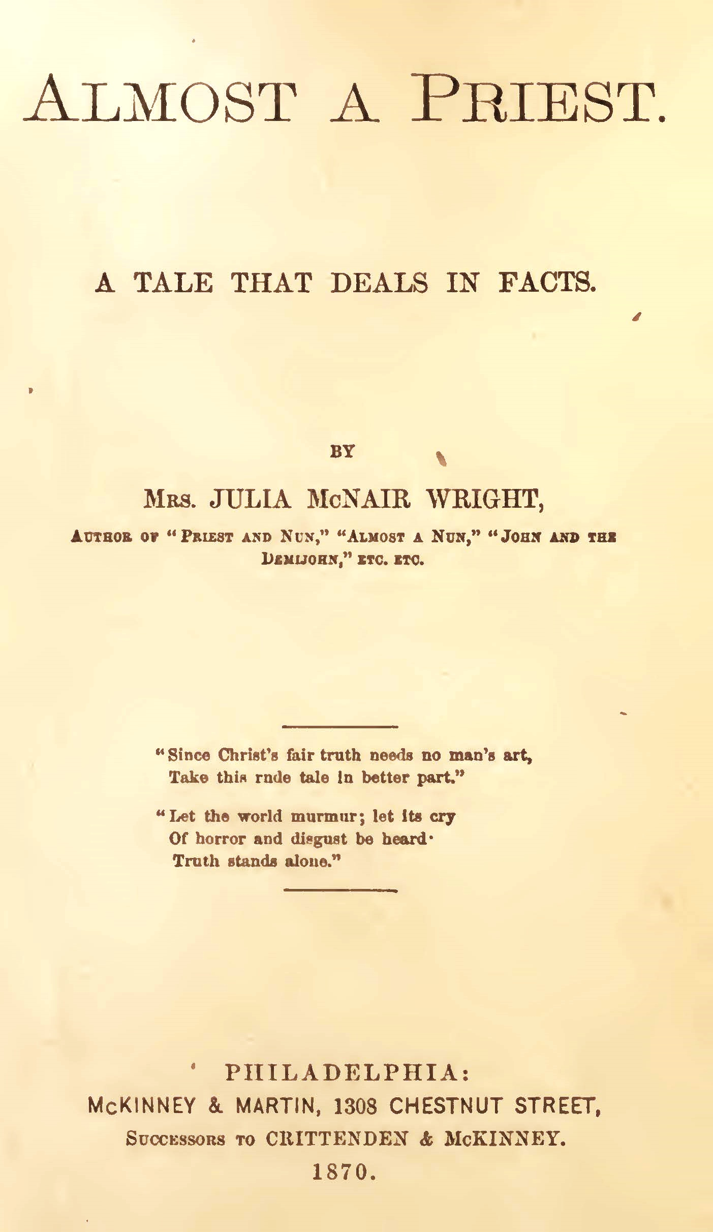 Wright, Julia McNair, Almost a Priest Title Page.jpg