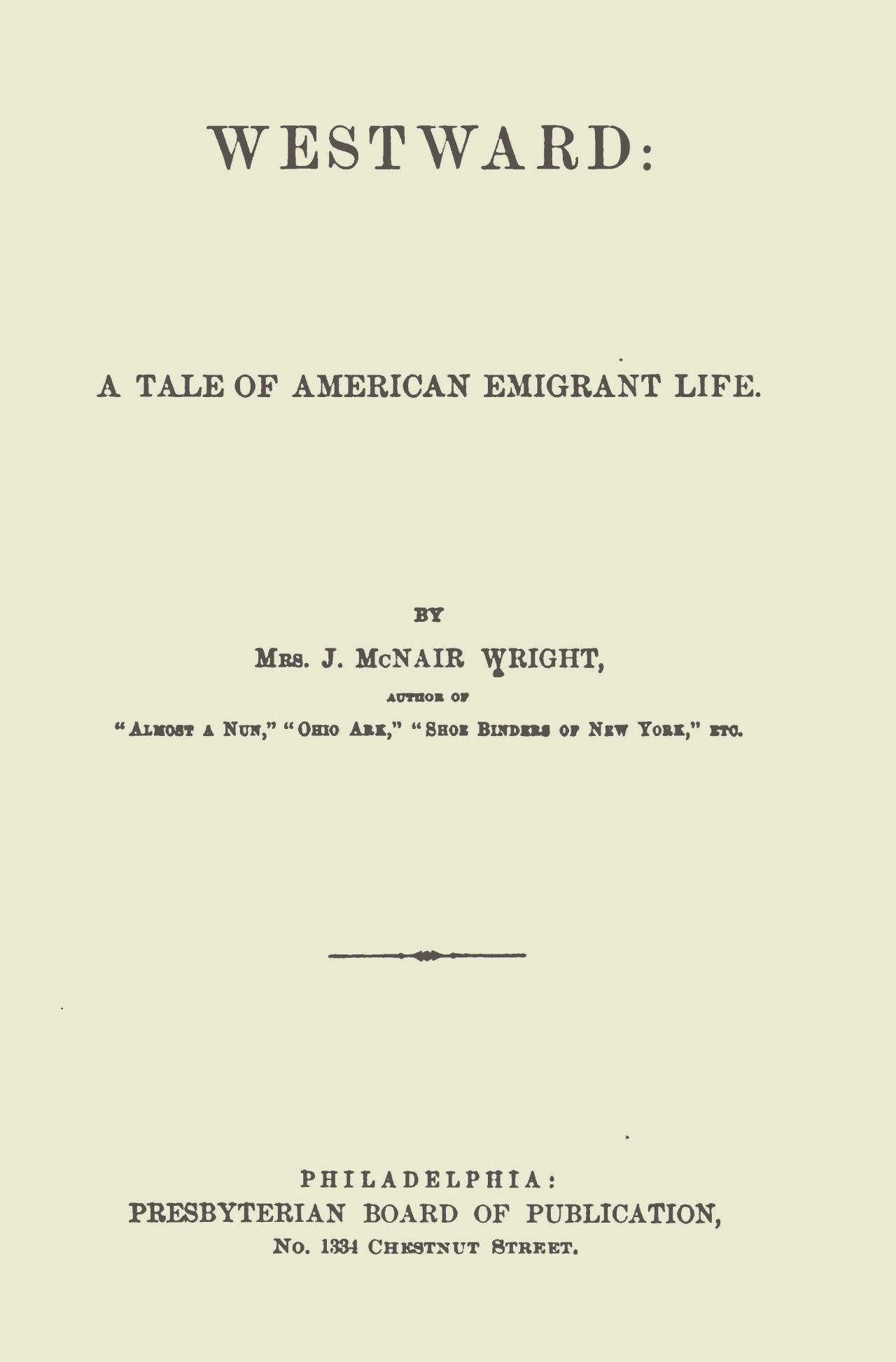 Wright, Julia McNair, Westward Title Page.jpg