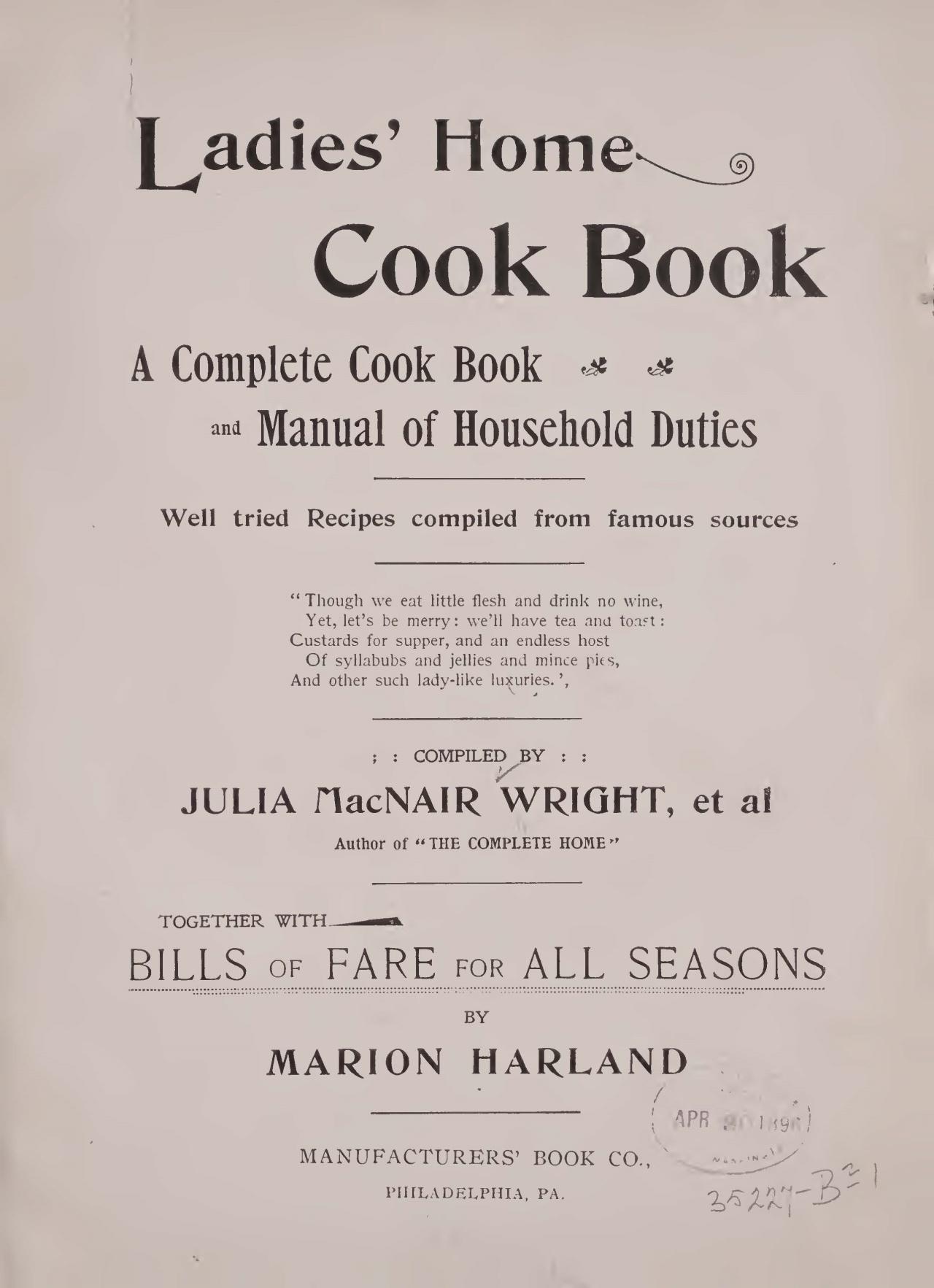 Wright, Julia McNair, Ladies Home Cook Book Title Page.jpg