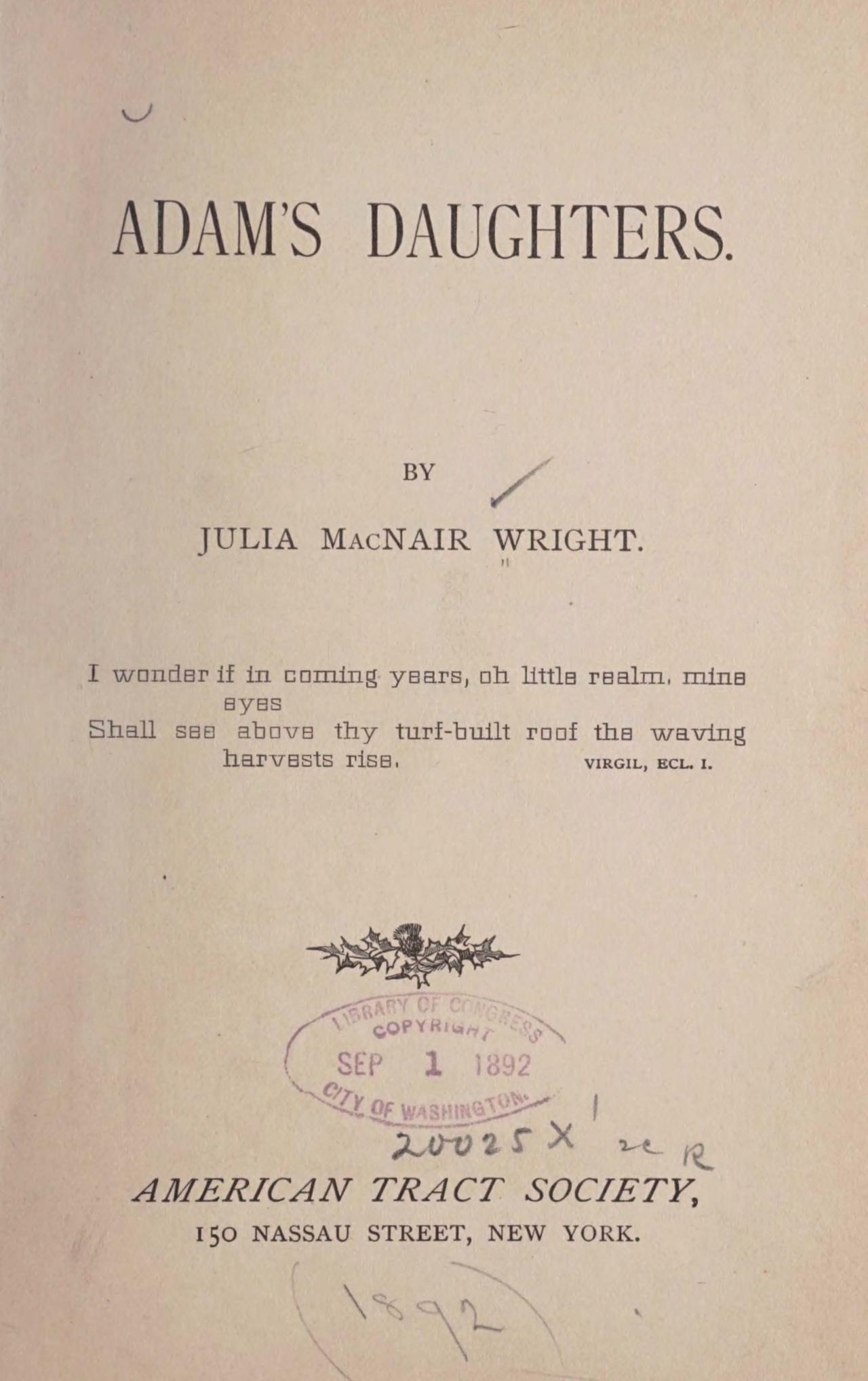 Wright, Julia McNair, Adam's Daughters Title Page.jpg