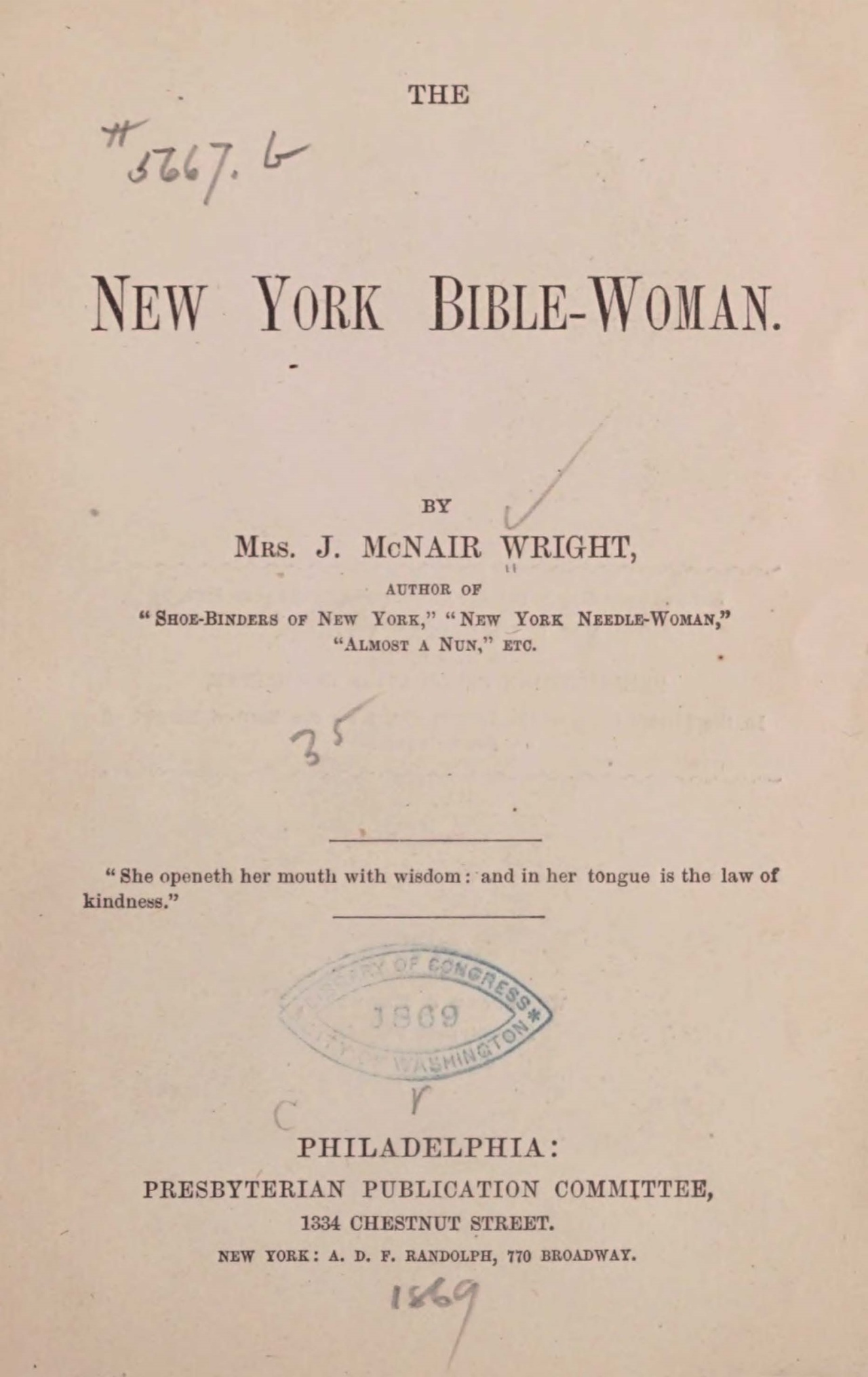 Wright, Julia McNair, The New York Bible-Woman Title Page.jpg