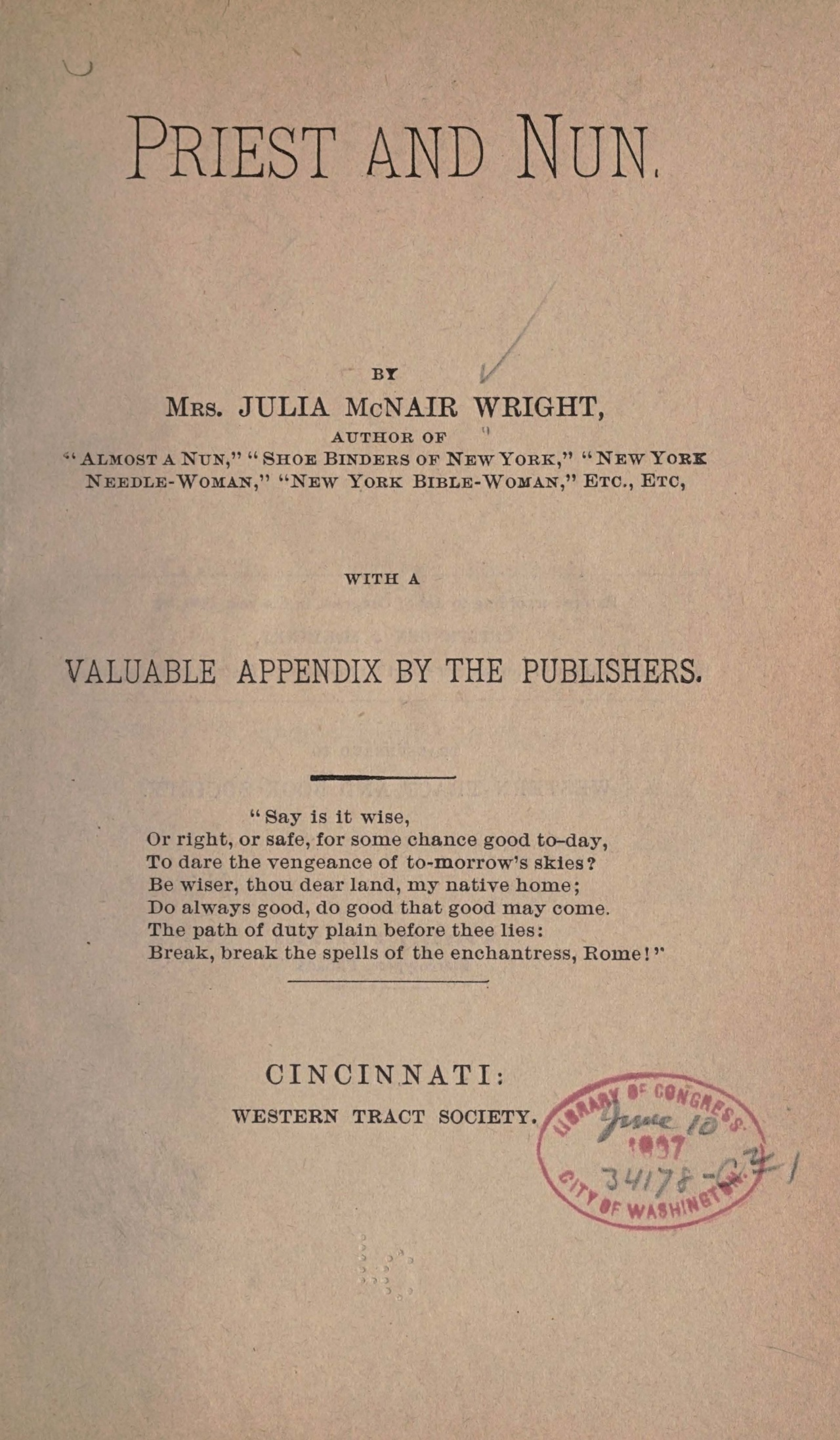 Wright, Julia McNair, Priest and Nun Title Page.jpg