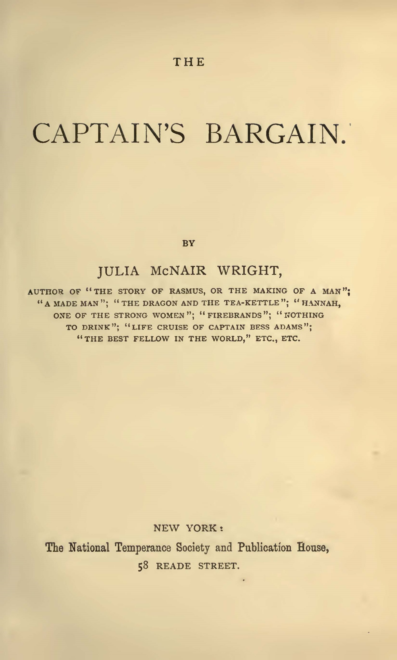 Wright, Julia McNair, The Captain's Bargain Title Page.jpg