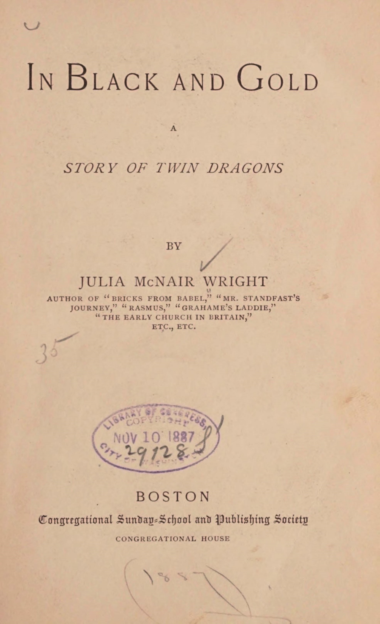Wright, Julia McNair, In Black and Gold Title Page.jpg