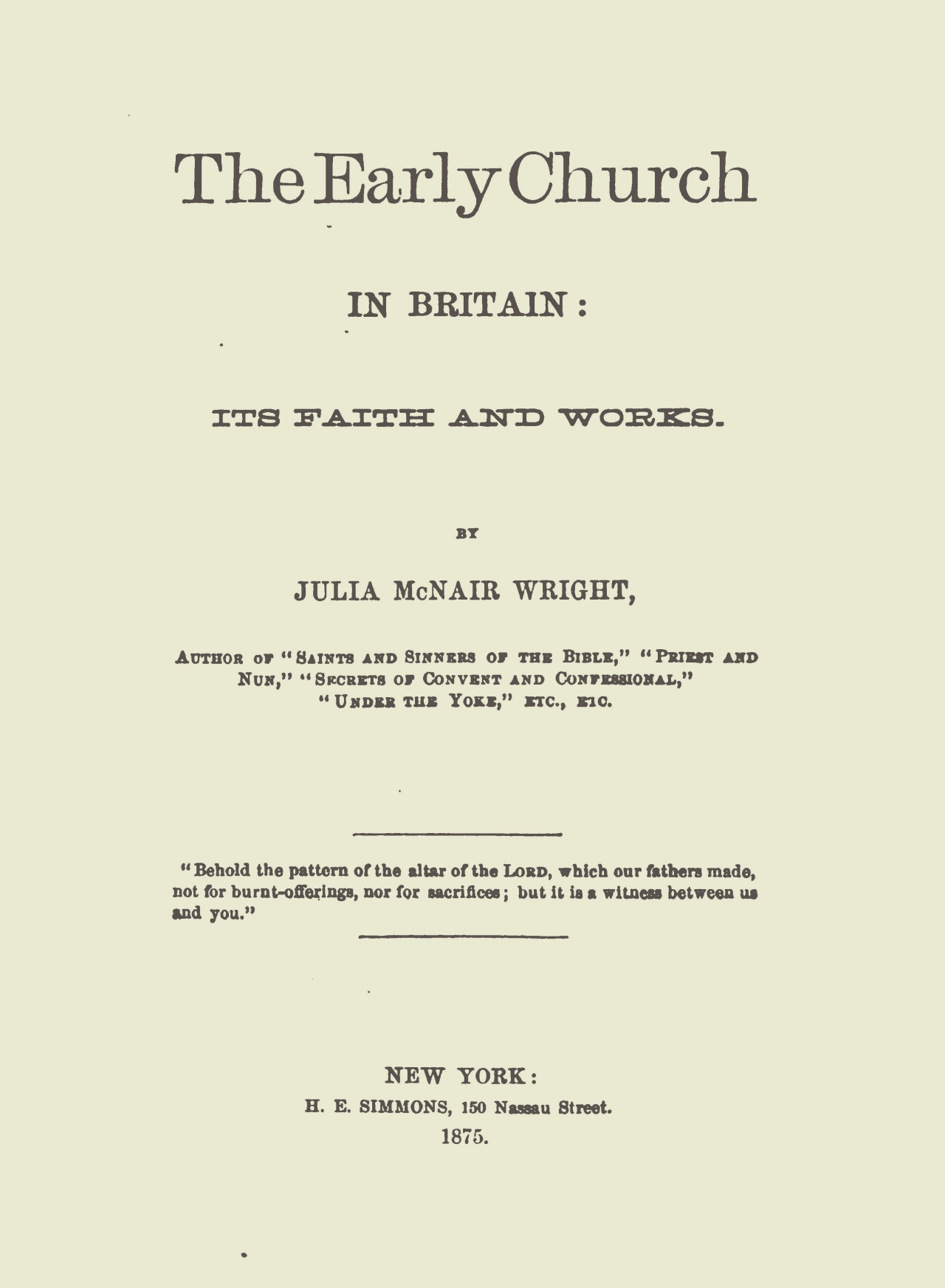 Wright, Julia McNair, The Early Church in Britain Title Page.jpg