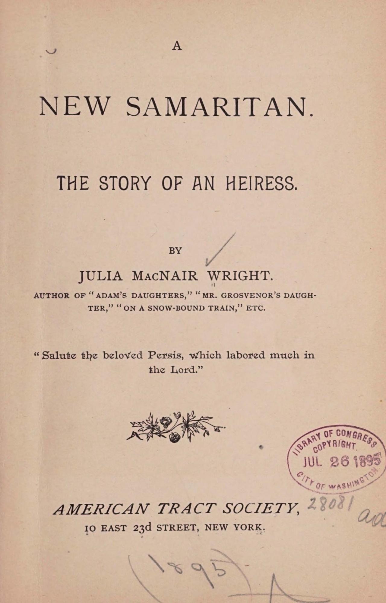 Wright, Julia McNair, A New Samaritan Title Page.jpg