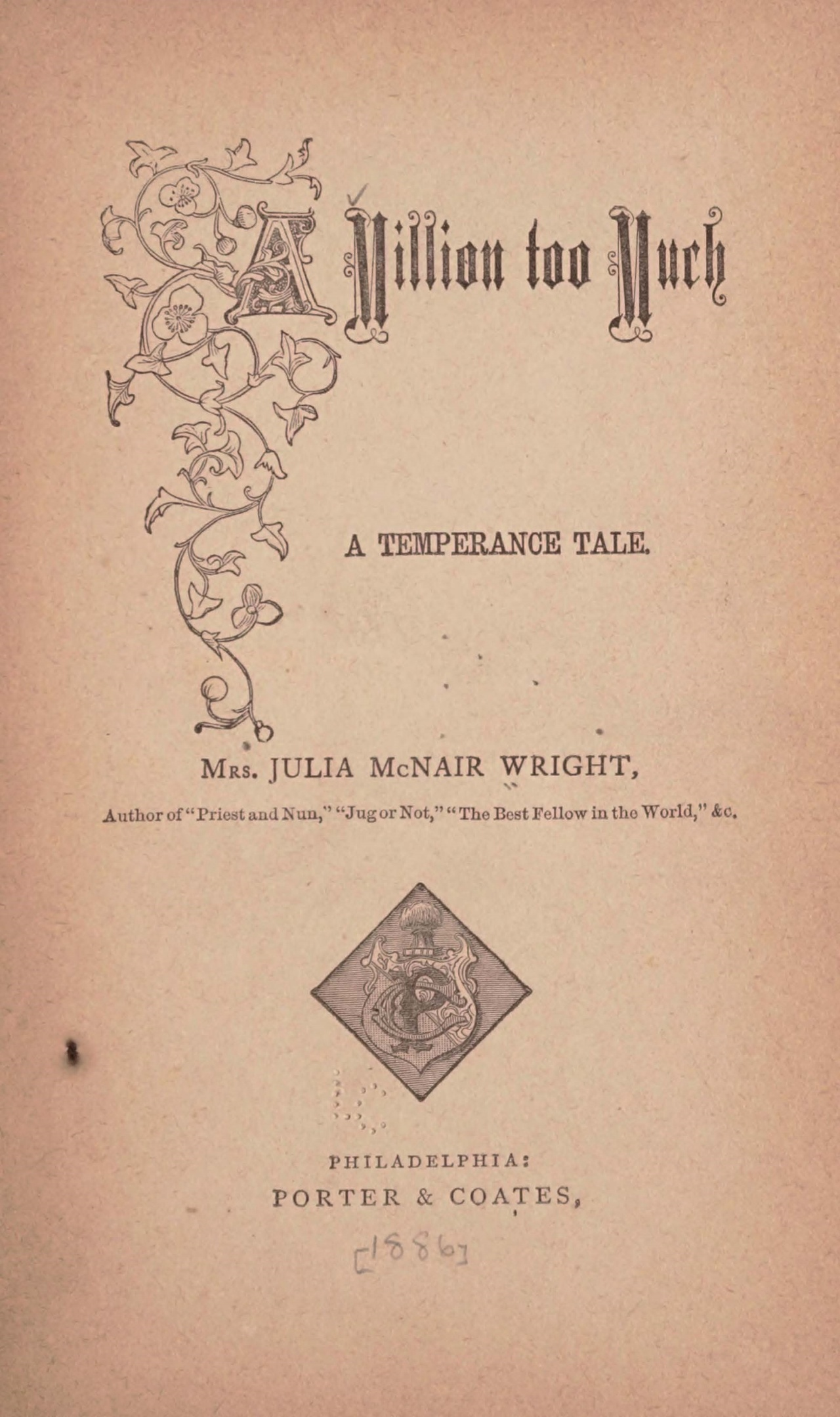 Wright, Julia McNair, A Million Too Much Title Page.jpg