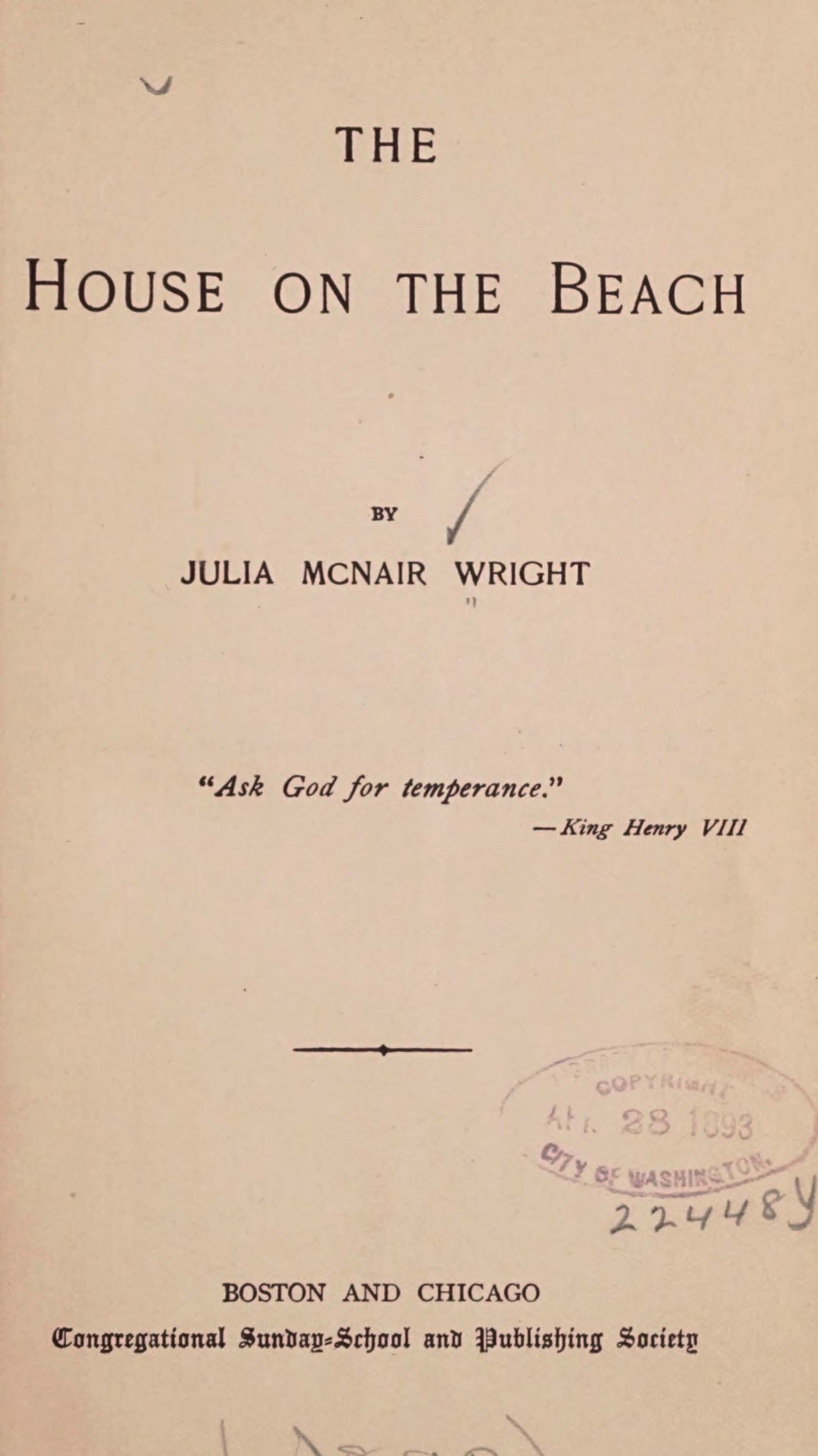 Wright, Julia McNair, The House on the Beach Title Page.jpg