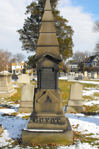 Arnold Henry Guyot is buried at Princeton Cemetery, Princeton, New Jersey.