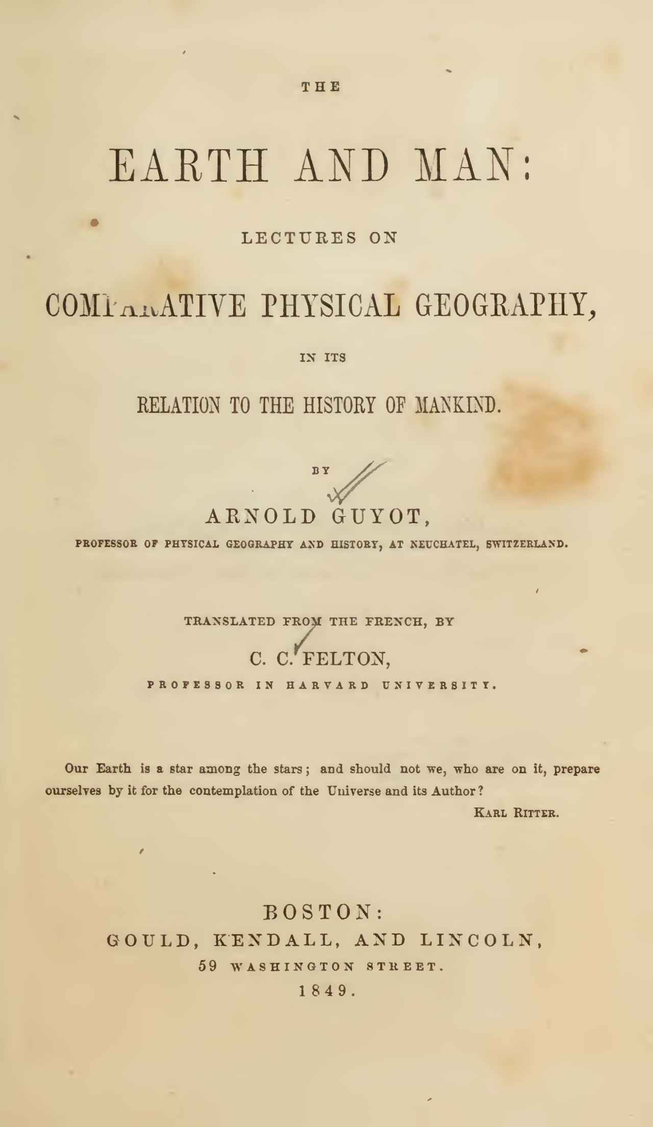 Guyot, Arnold Henry, The Earth and Man Title Page.jpg