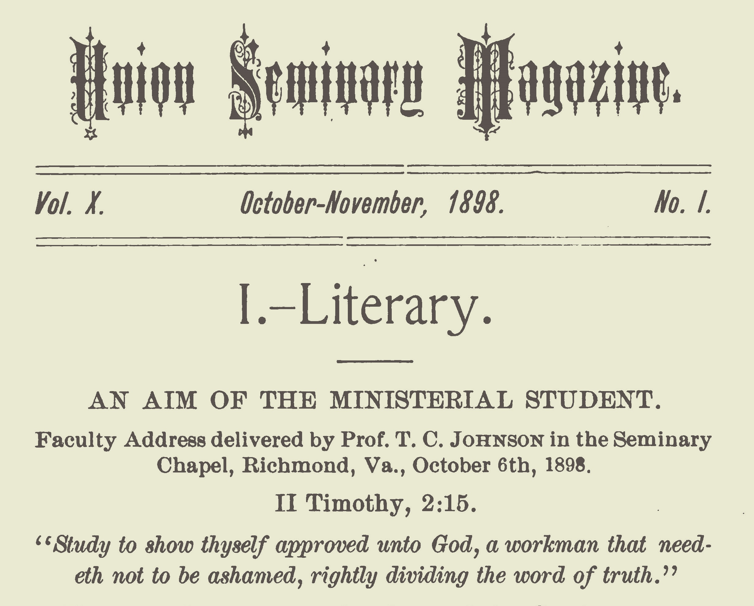 Johnson, Thomas Cary, The Aim of the Ministerial Student Title Page.jpg