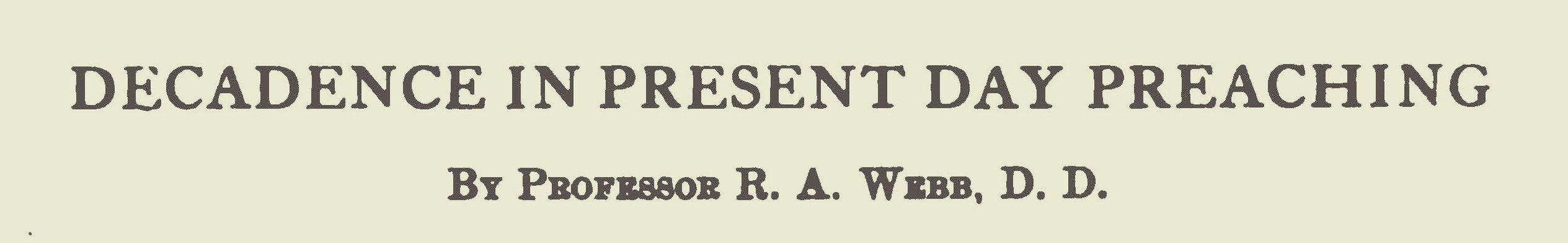 Webb, Robert Alexander, Decadence in Present Day Preaching Title Page.jpg