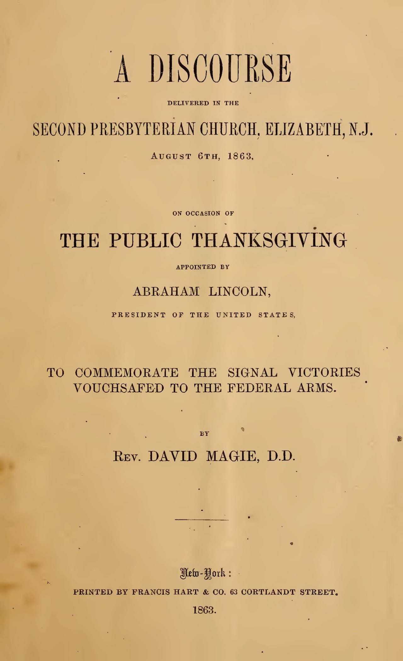 Magie, David, A Discourse Delivered in the Second Presbyterian Church Title Page.jpg