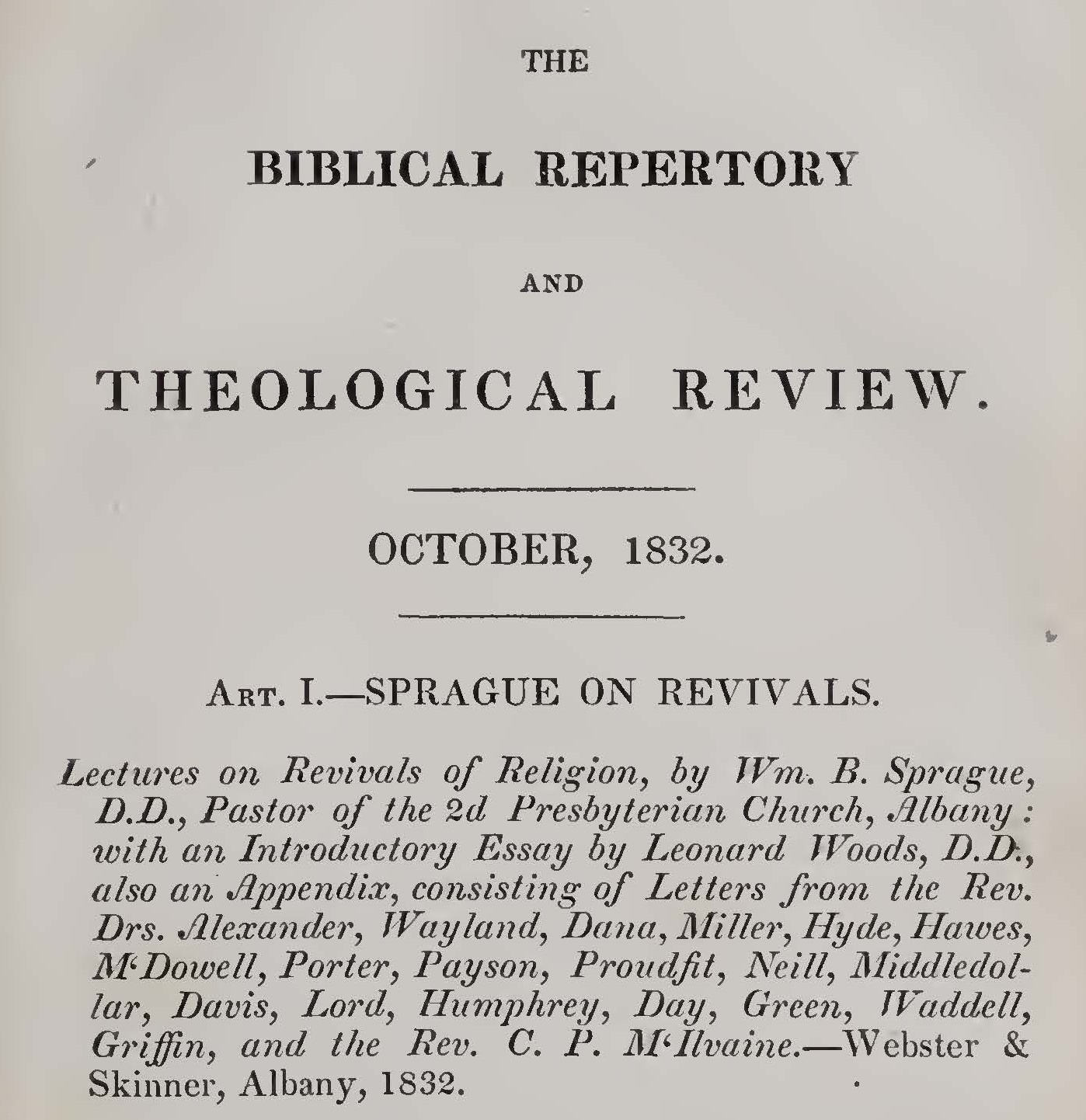 Breckinridge, John, Sprague on Revivals Title Page.jpg