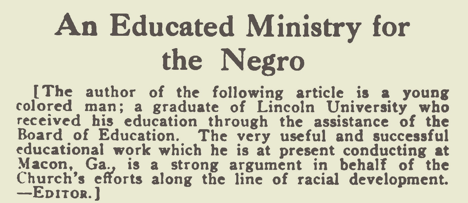 Holley, Joseph Winthrop, An Educated Ministry for the Negro Title Page.jpg