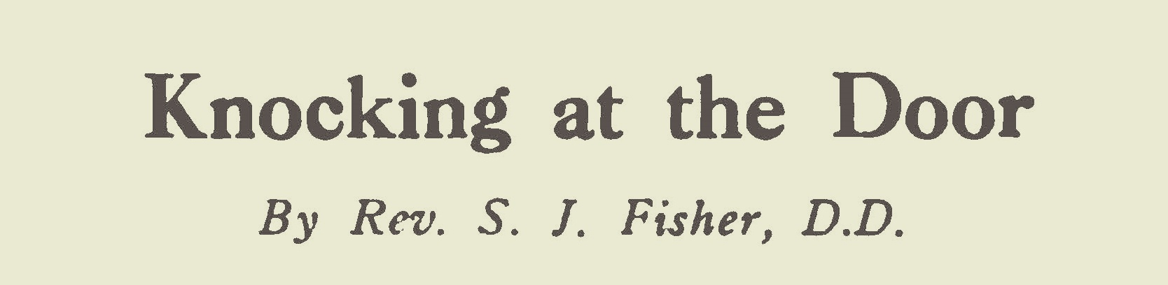 Fisher, Samuel Jackson, Knocking at the Door Title Page.jpg