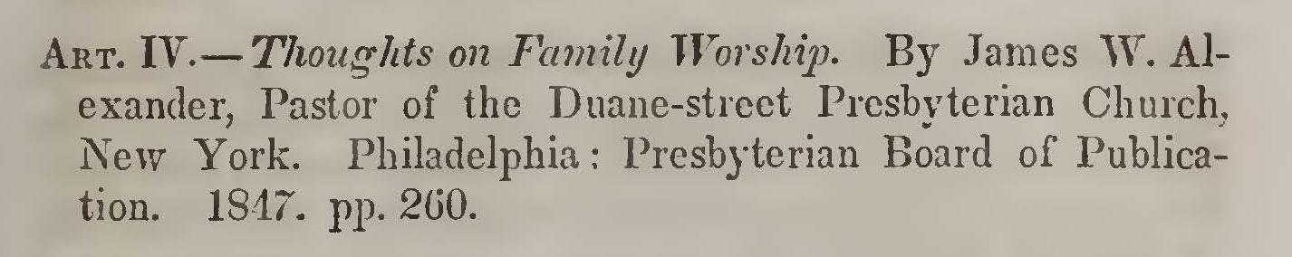 Yeomans, John William, Review of Thoughts on Family Worship Title Page.jpg