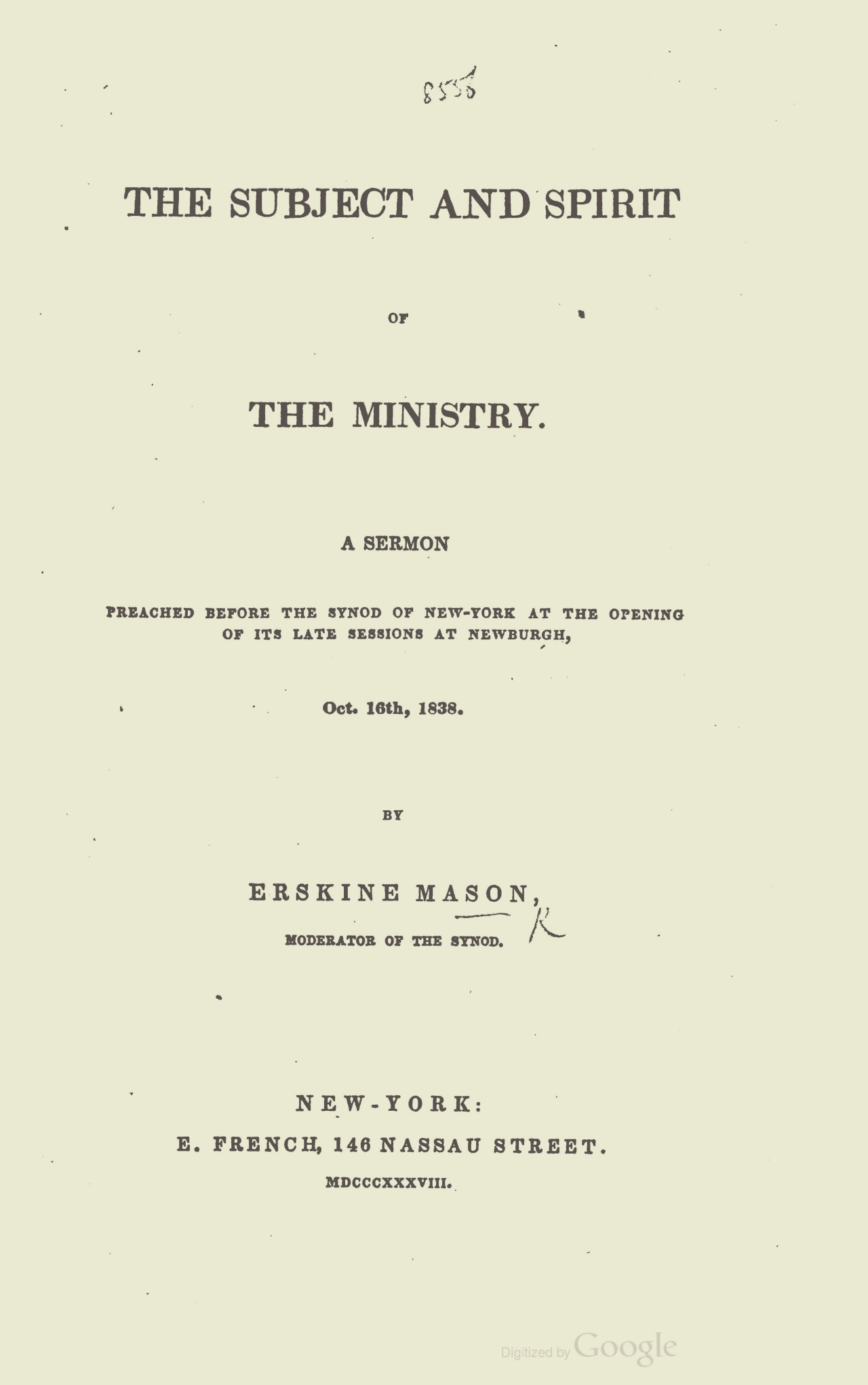 Mason, Sr., Erskine, The Subject and Spirit of the Ministry A Sermon Title Page.jpg