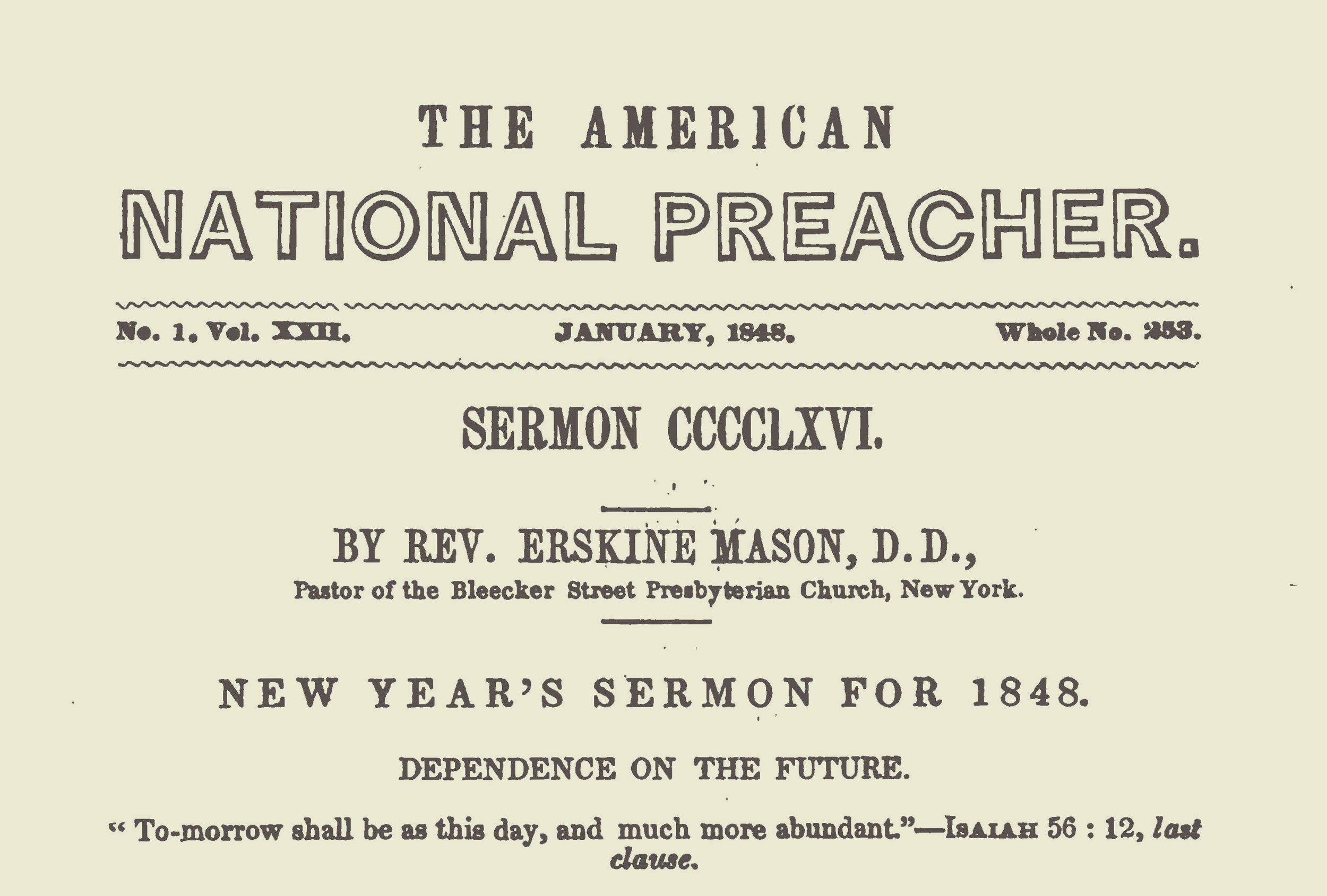 Mason, Sr., Erskine, New Year's Sermon for 1848 Title Page.jpg