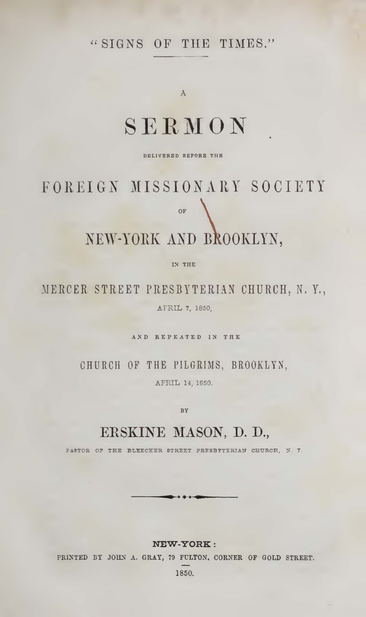 Mason, Sr., Erskine, Signs of the Times A Sermon Title Page.jpg