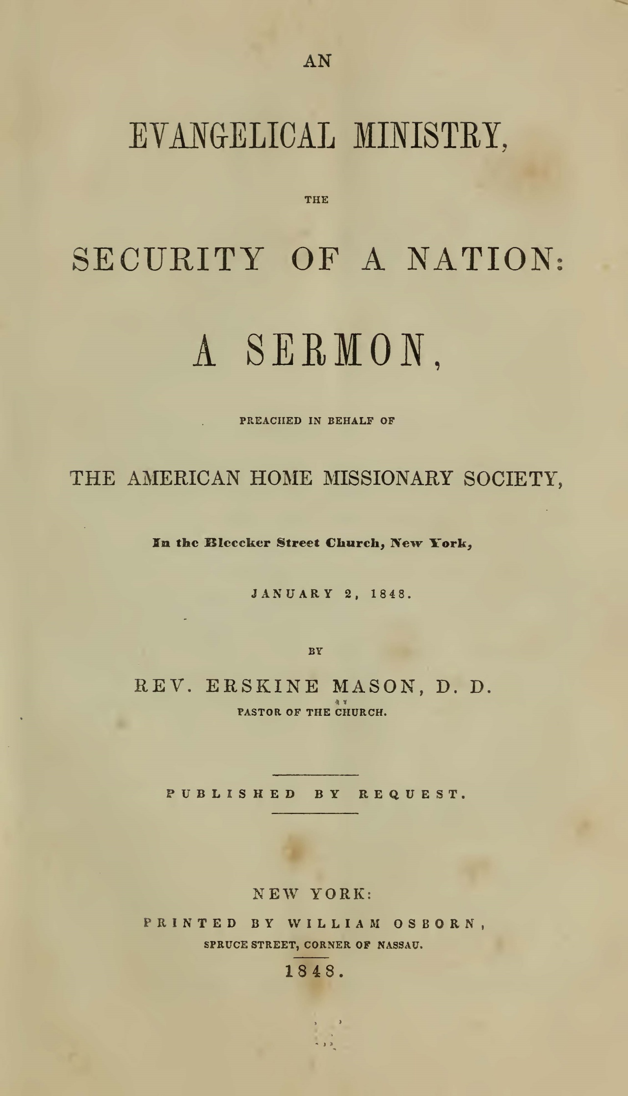 Mason, Sr., Erskine, An Evangelical Ministry, the Security of a Nation Title Page.jpg
