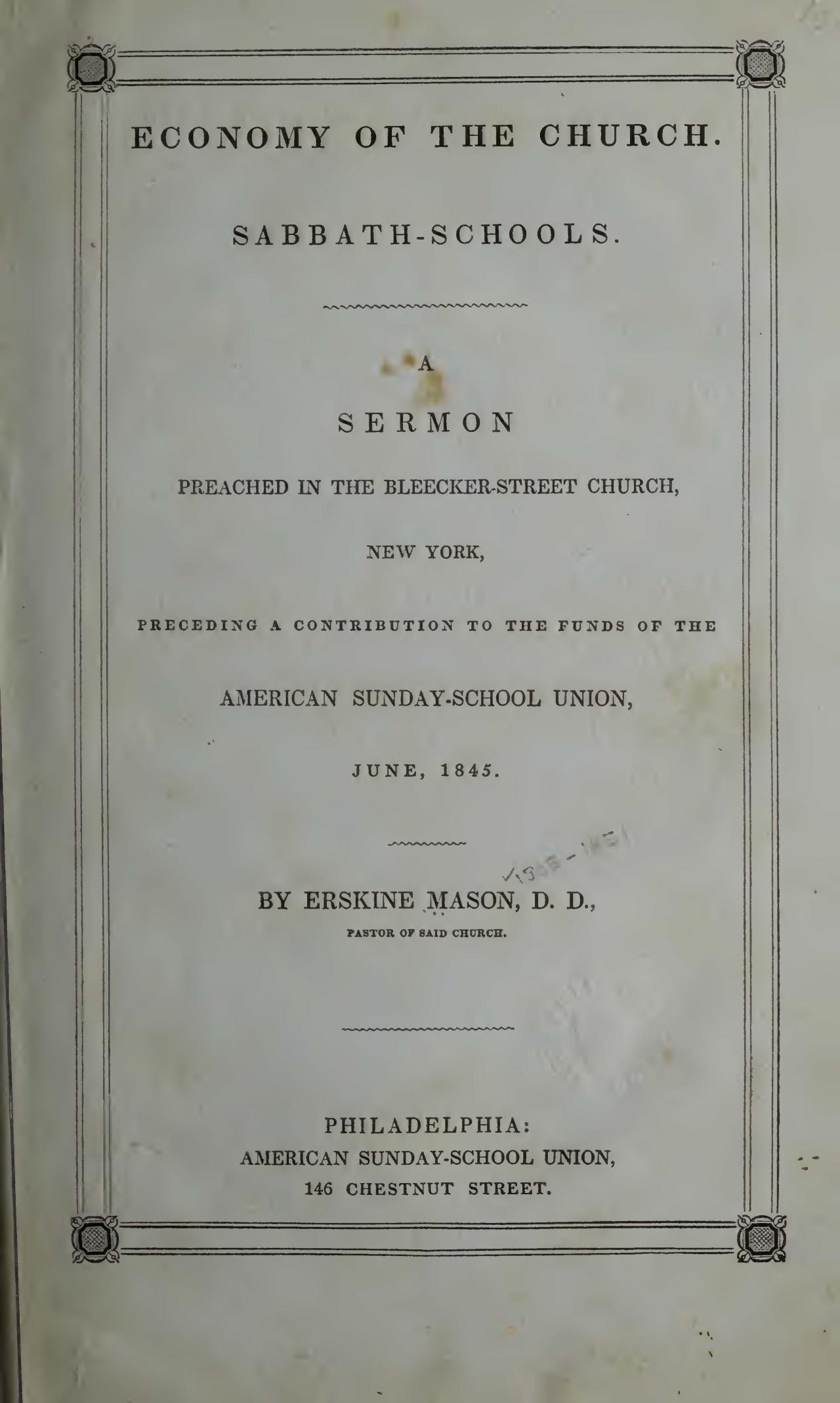 Mason, Sr., Erskine, Sabbath-Schools A Sermon Title Page.jpg