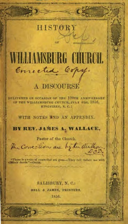 Wallace, James Albert, History of Williamsburg Church Title Page.jpg