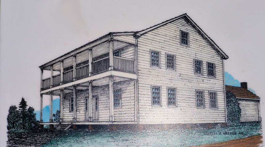 A drawing of the house at New Echota, Georgia in which Elias Boudinot and his wife lived from 1827 to 1836.