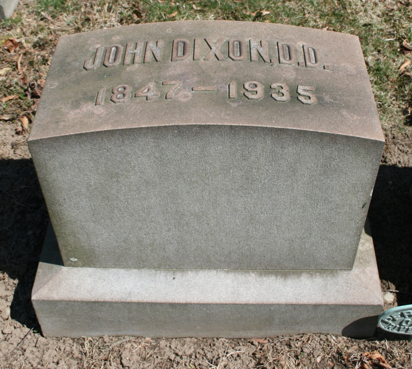 John Dixon is buried at Riverview Cemetery, Trenton, New Jersey.